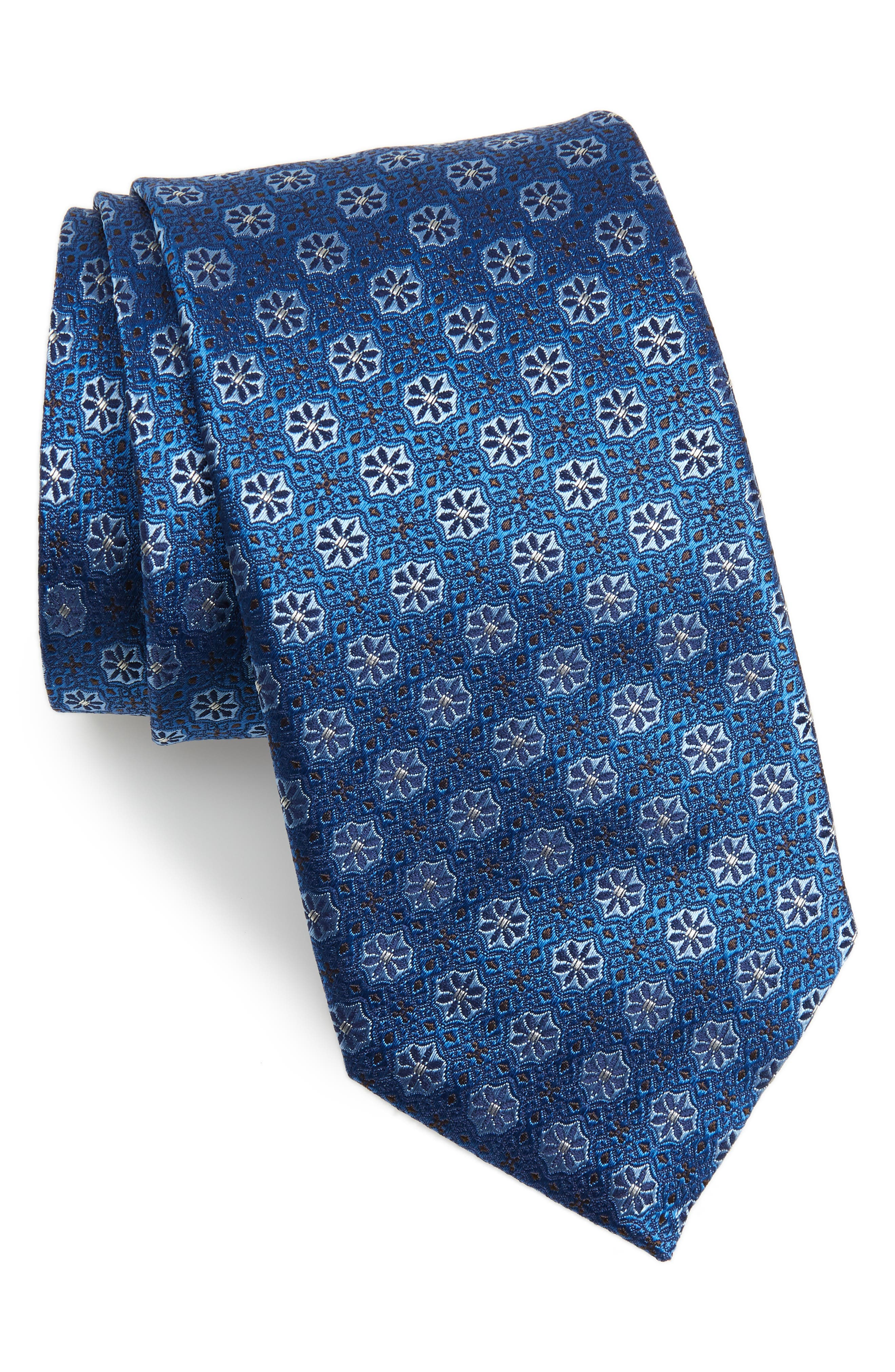 Medallion Silk Tie,                         Main,                         color, TURQUOISE