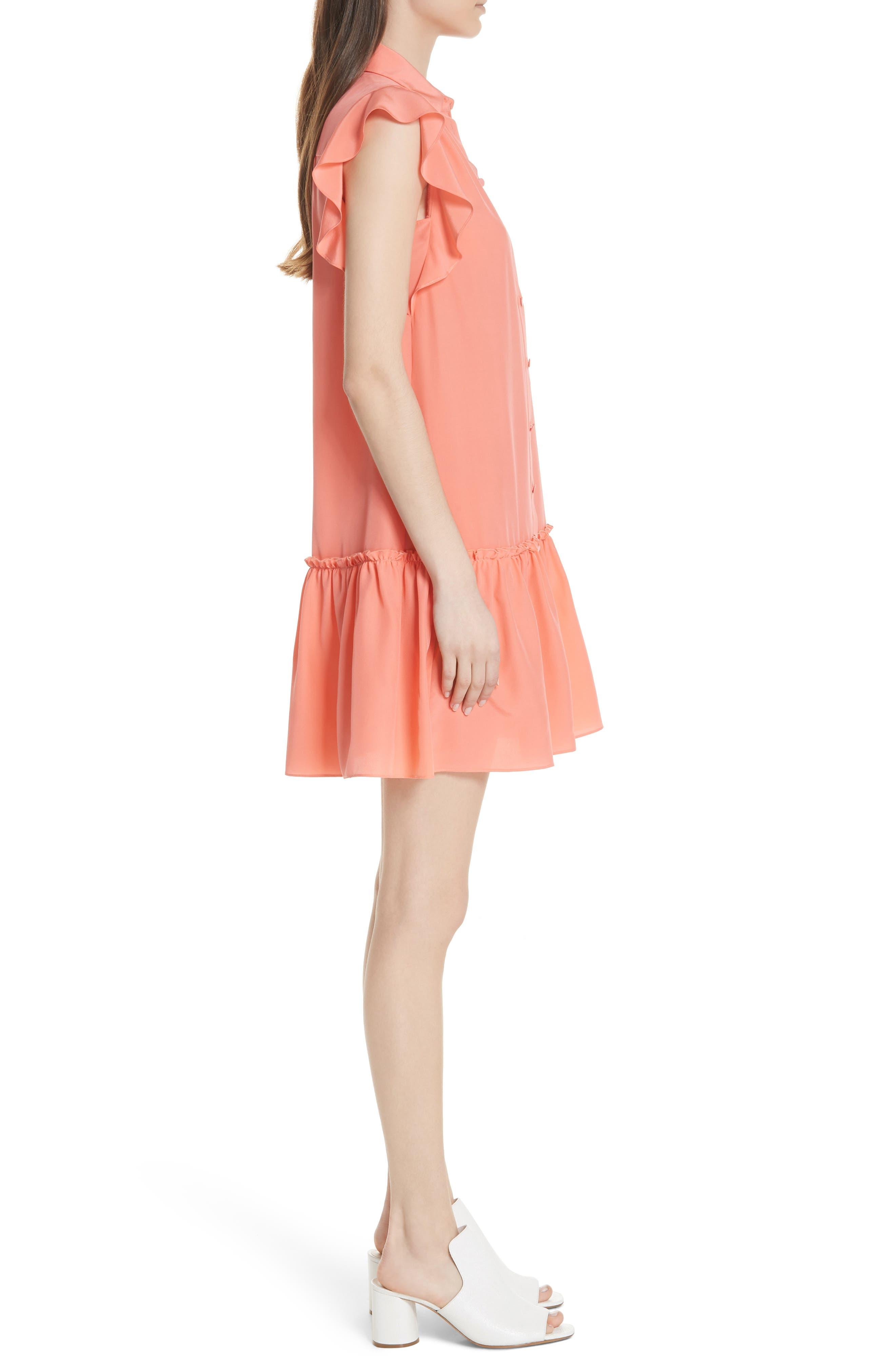 drop waist silk dress,                             Alternate thumbnail 3, color,                             APRICOT SORBET