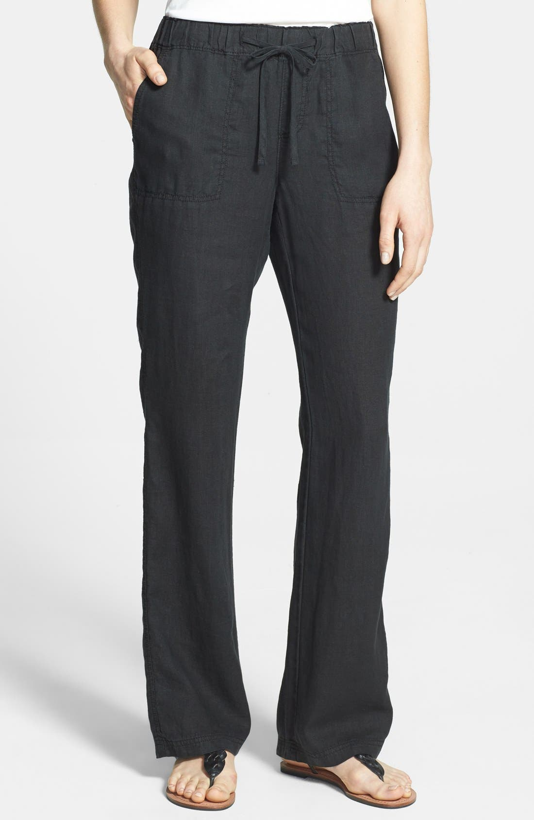 Drawstring Waist Linen Pants,                         Main,                         color, 001