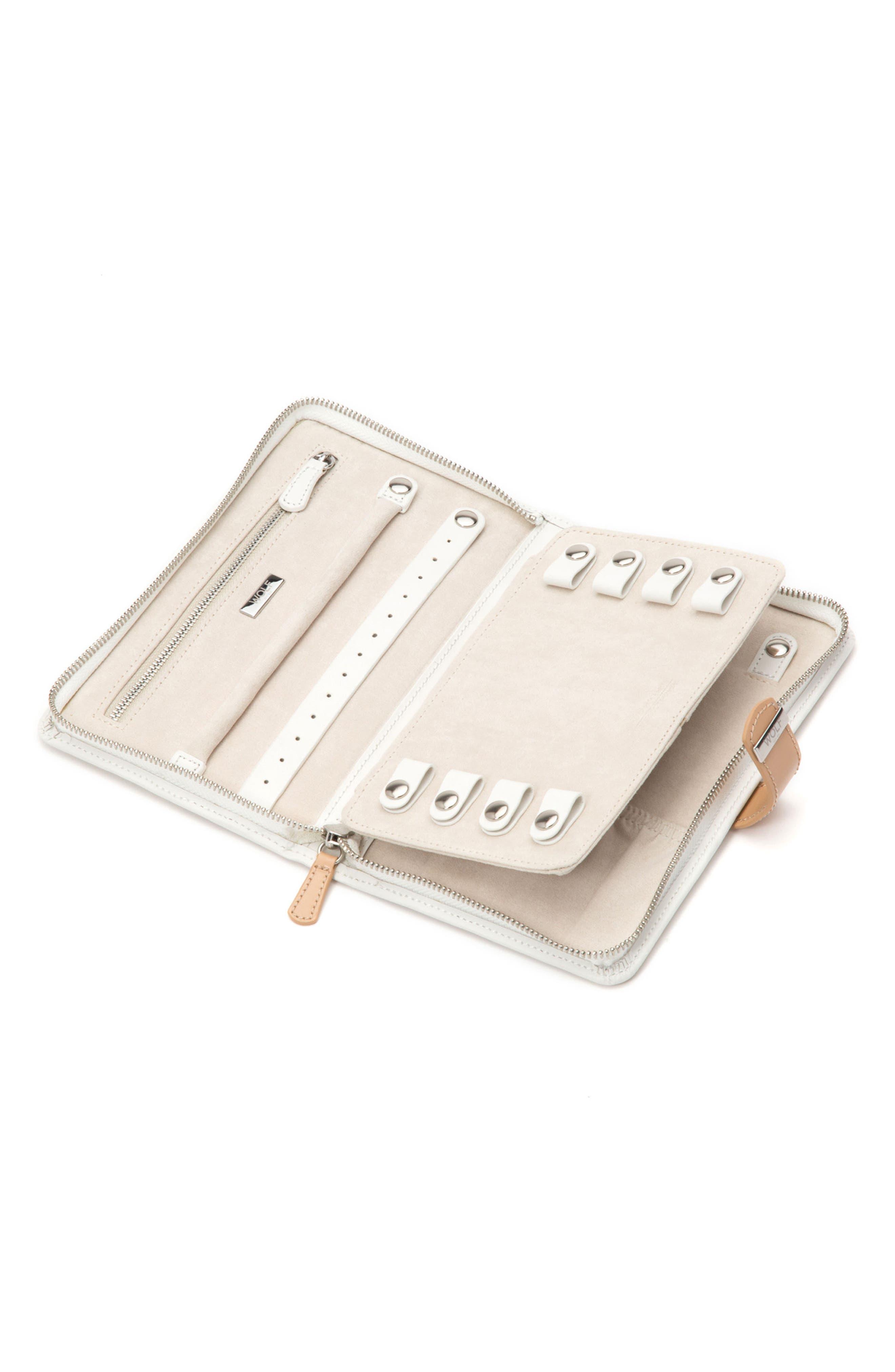 Blossom Leather Jewelry Portfolio,                             Alternate thumbnail 4, color,                             IVORY