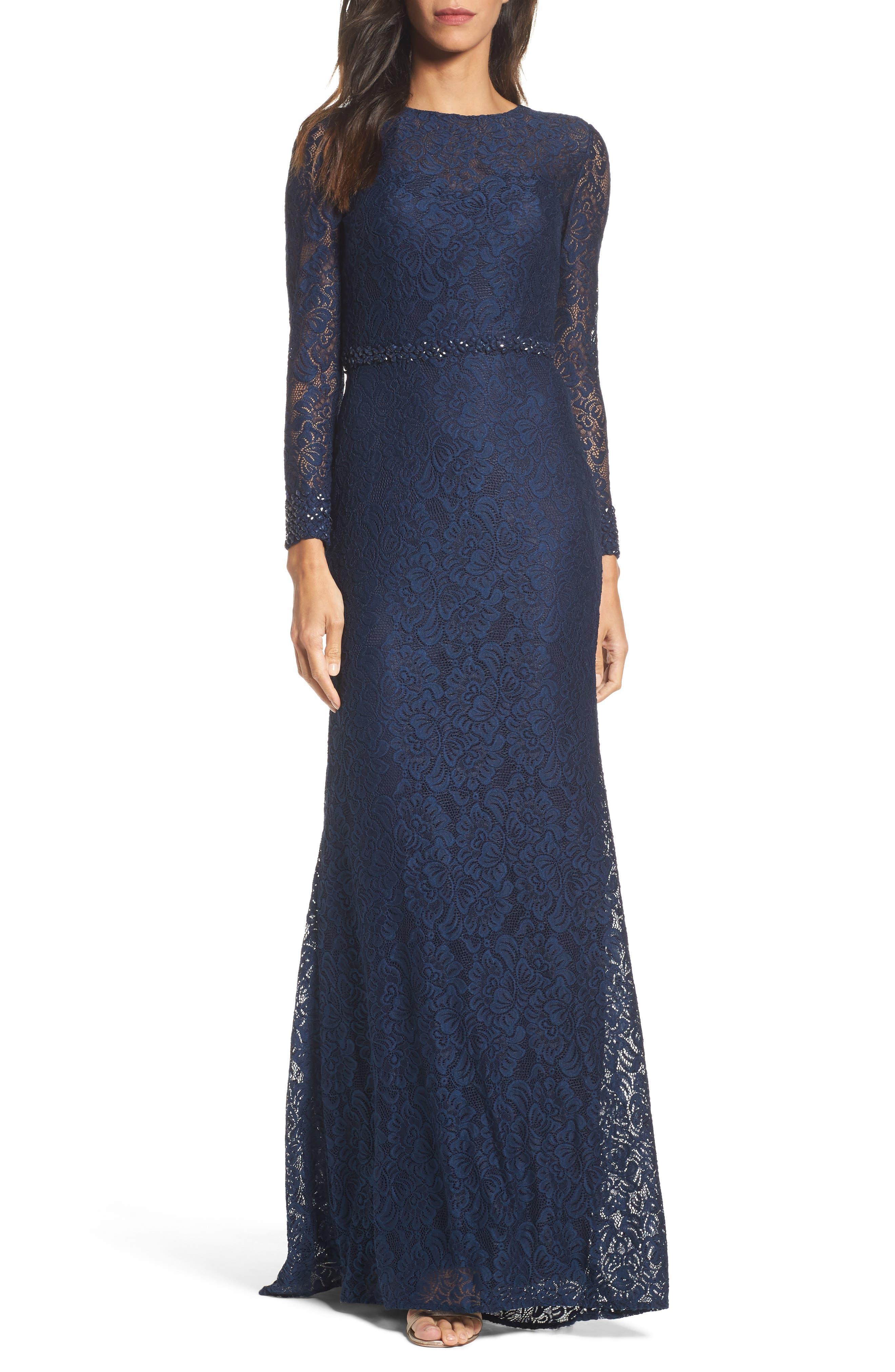 La Femme Embellished Lace Gown, Blue
