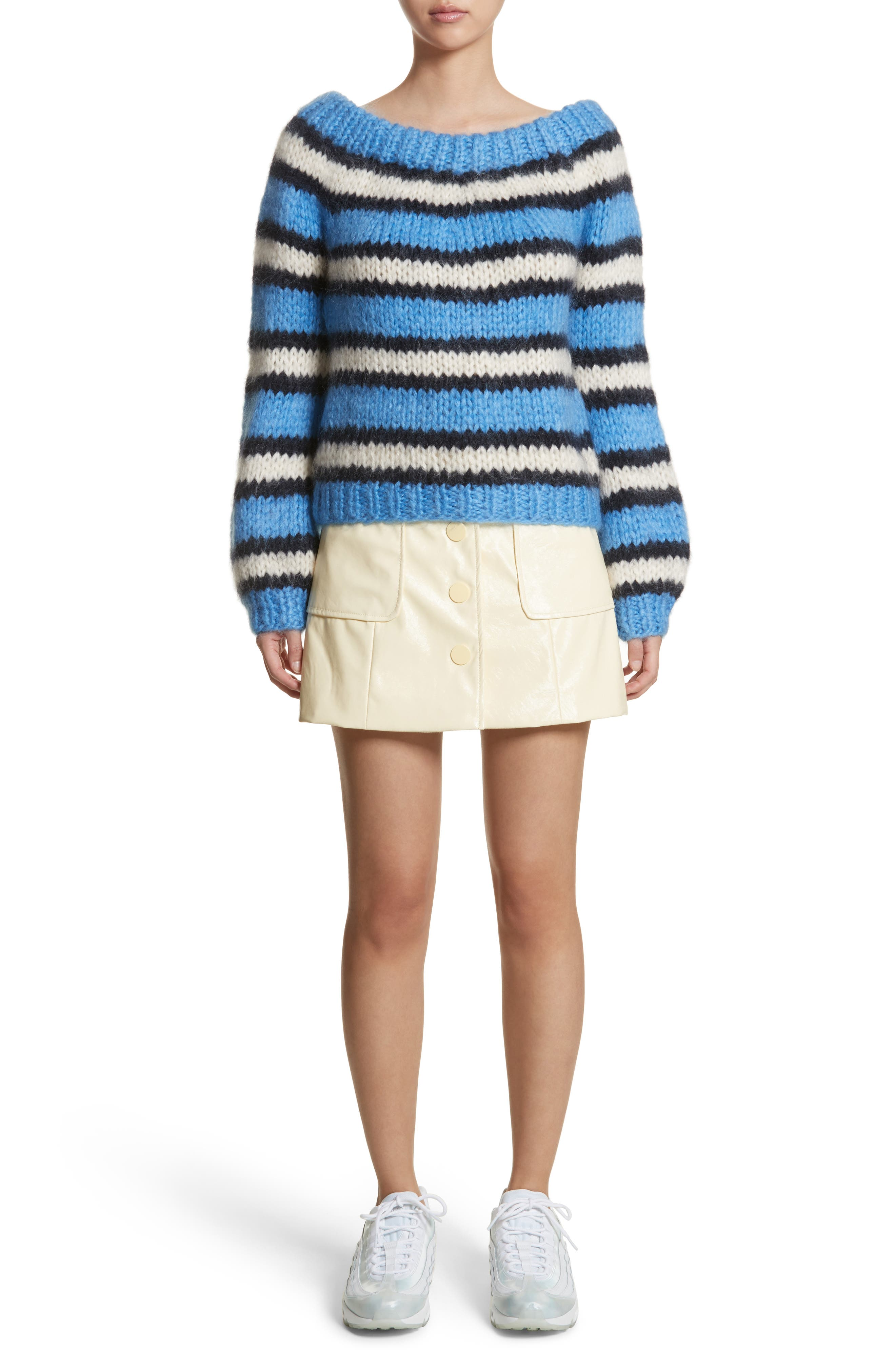 Juilliard Stripe Mohair & Wool Sweater,                             Alternate thumbnail 7, color,                             400