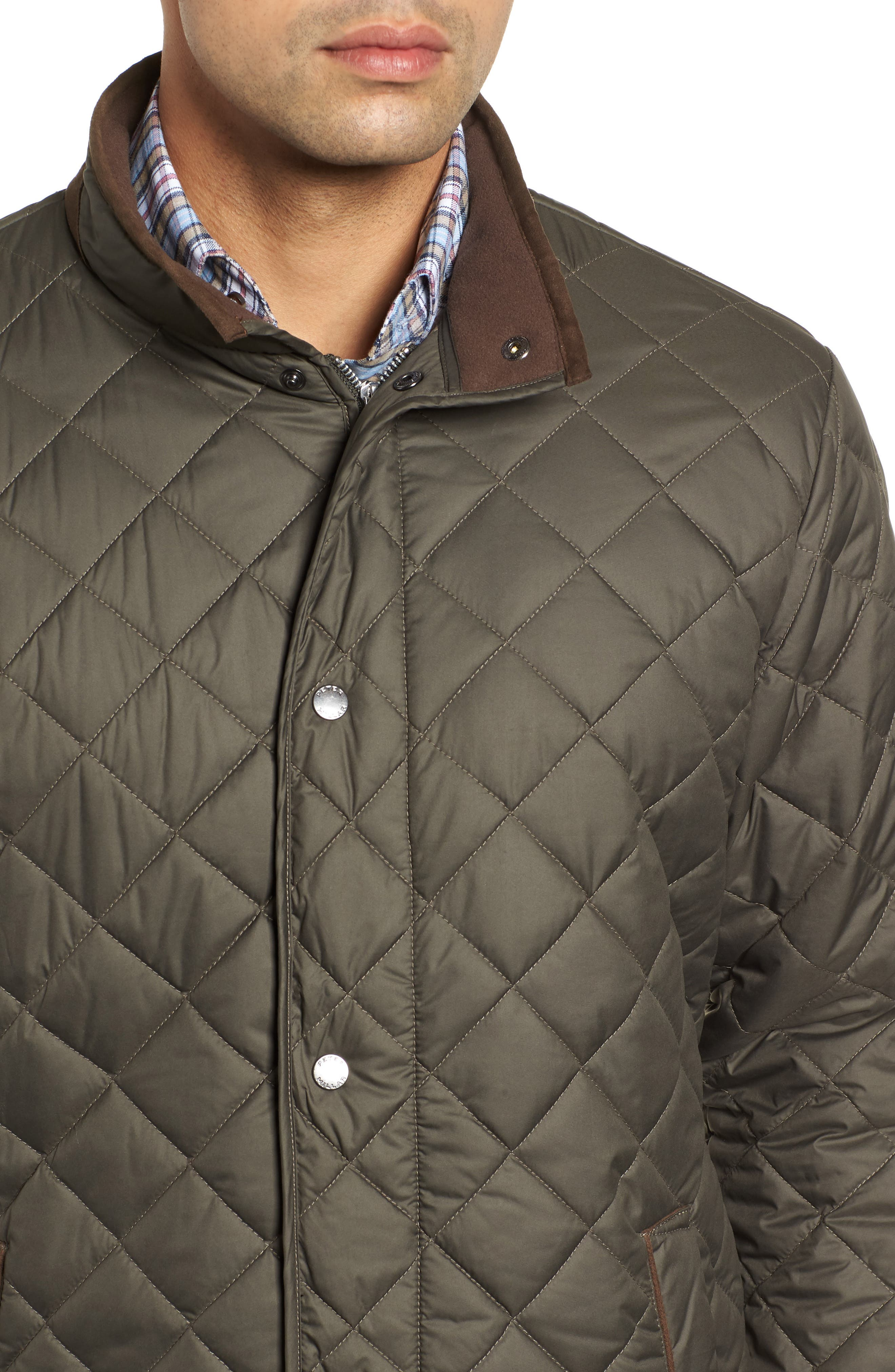 Suffolk Quilted Water-Resistant Car Coat,                             Alternate thumbnail 4, color,                             OLIVE