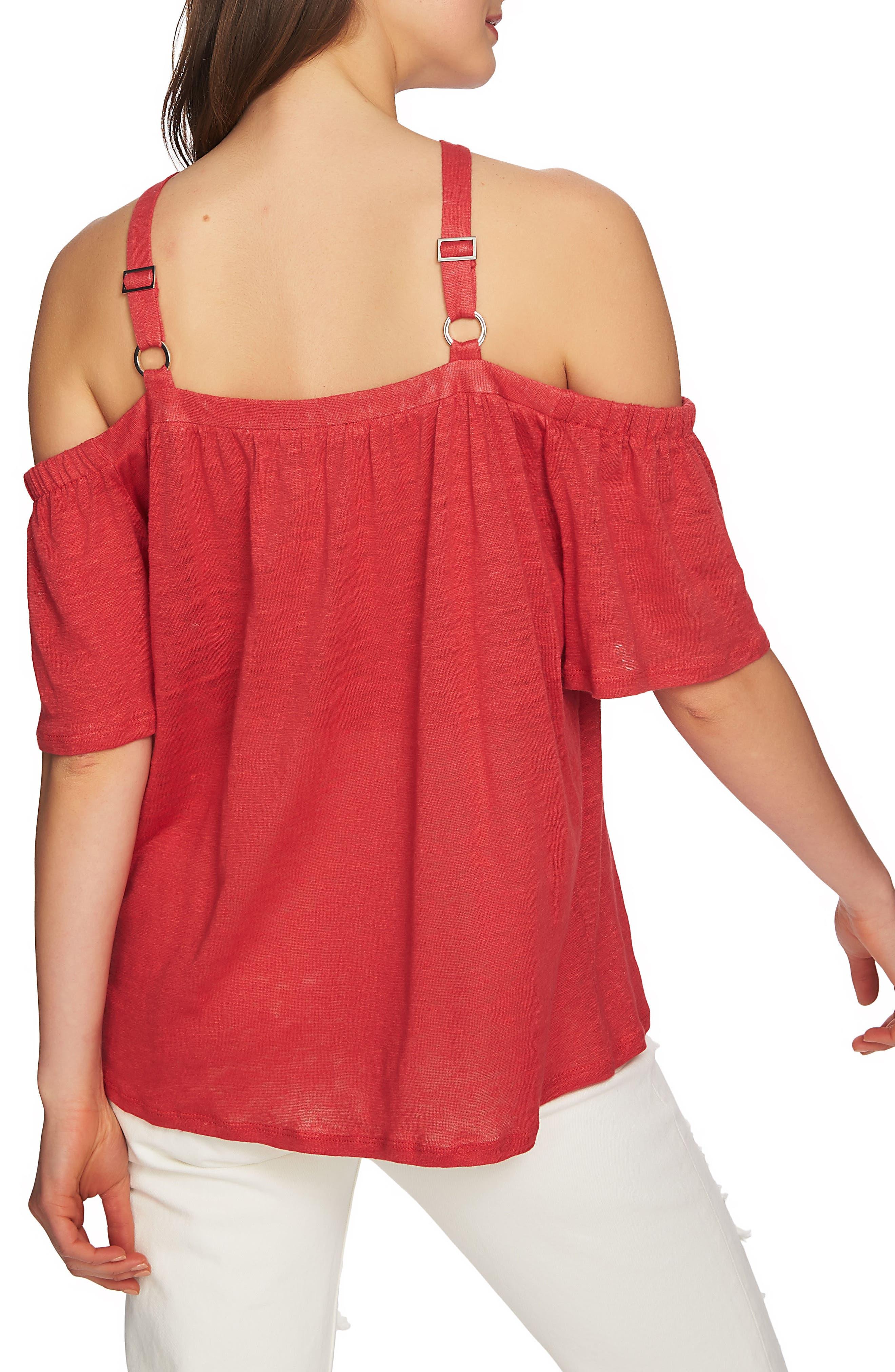 Cold Shoulder Linen Top,                             Alternate thumbnail 10, color,