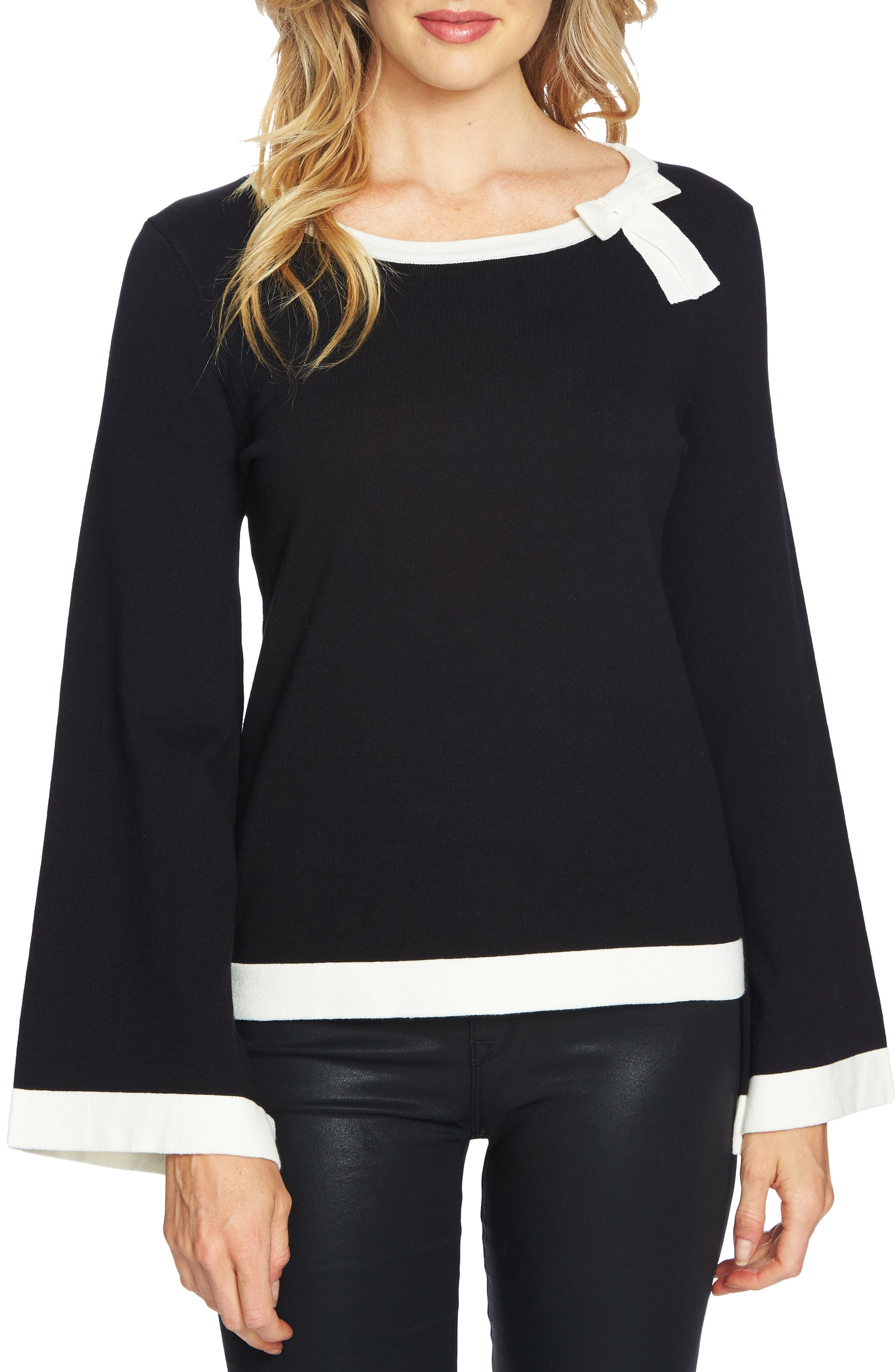Contrast Tipped Bell Sleeve Sweater,                             Main thumbnail 1, color,                             001