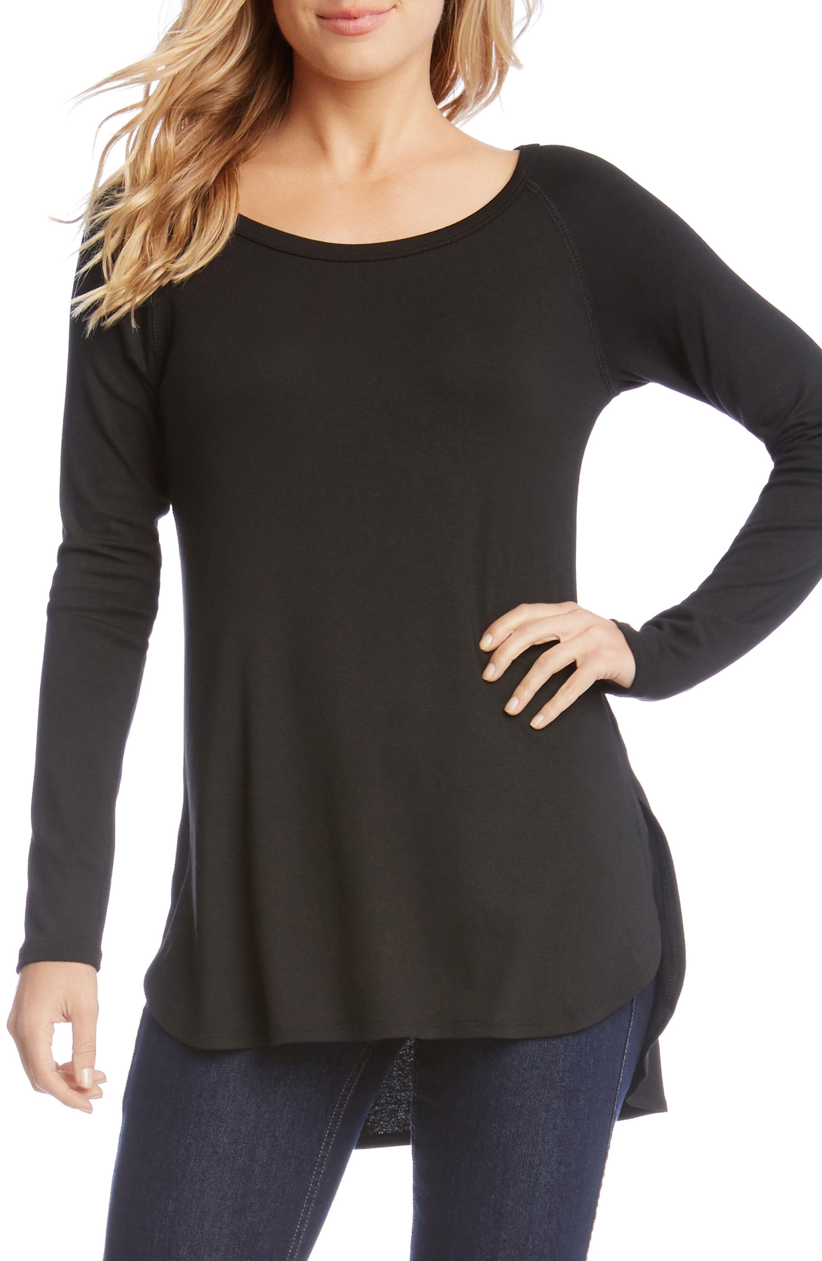 Shirttail Hem Long Sleeve Tee,                         Main,                         color, 001