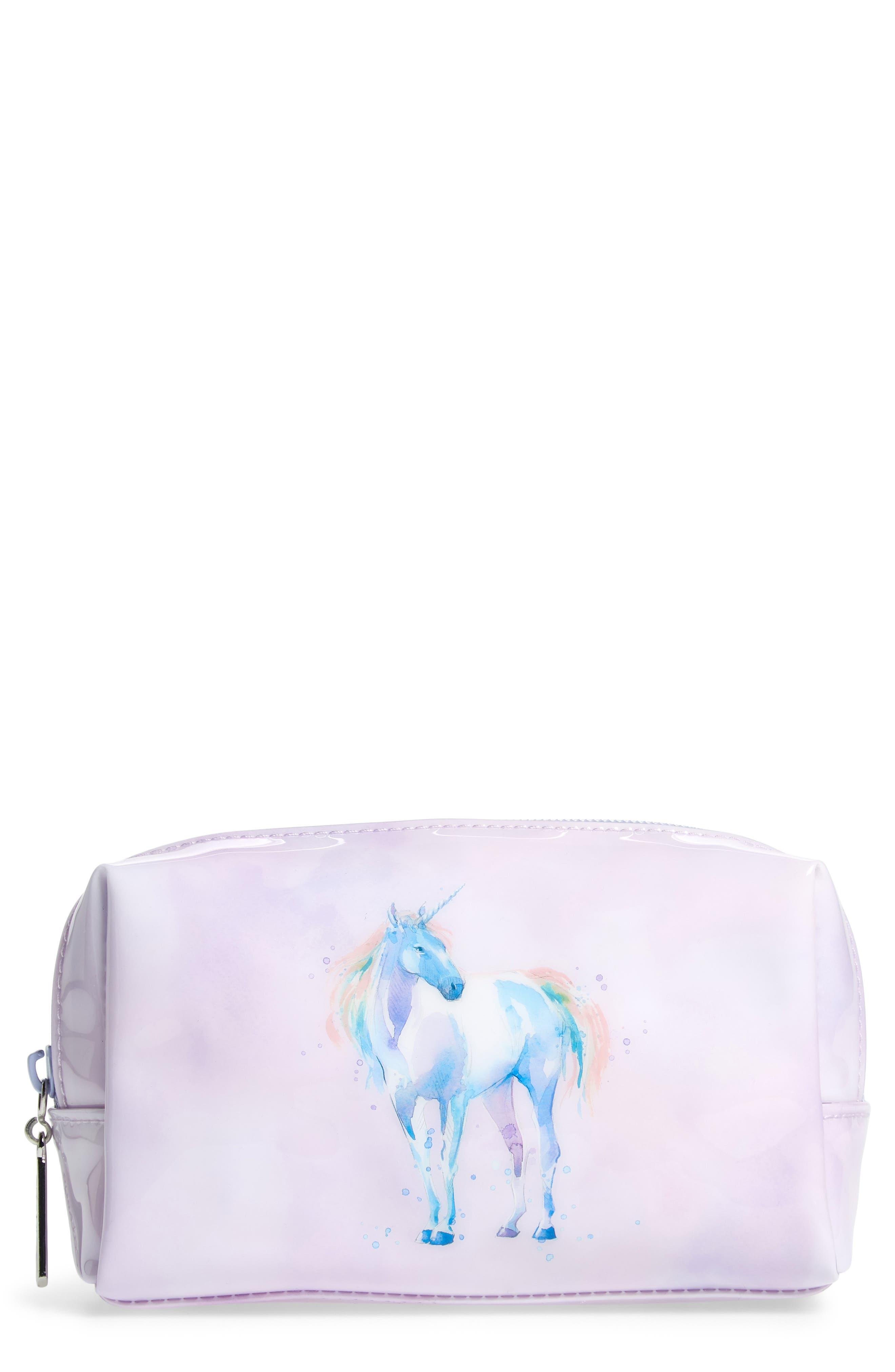 Watercolor Unicorn Cosmetics Case,                             Main thumbnail 1, color,                             530