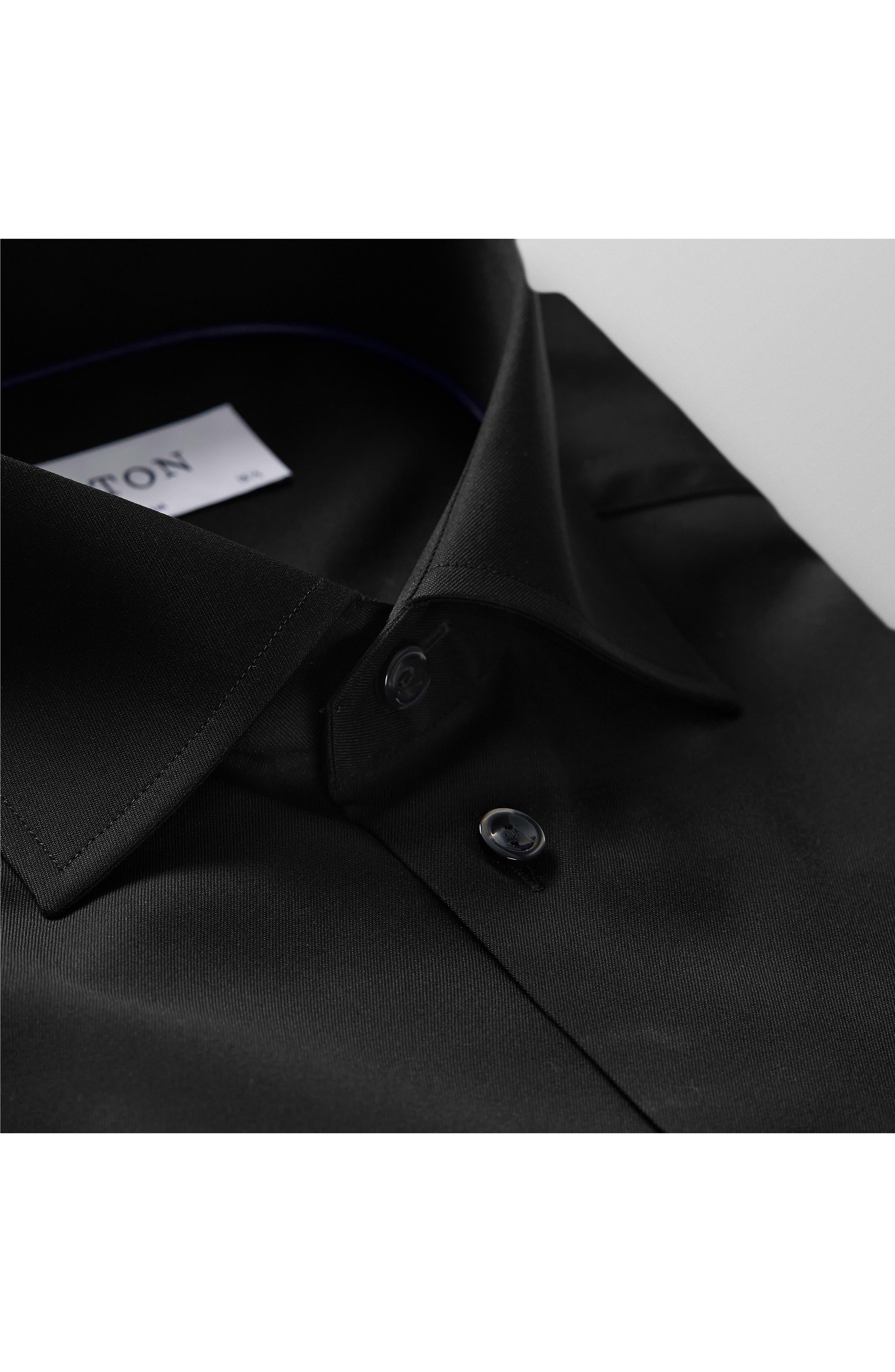 Slim Fit Twill Dress Shirt,                             Alternate thumbnail 5, color,                             BLACK