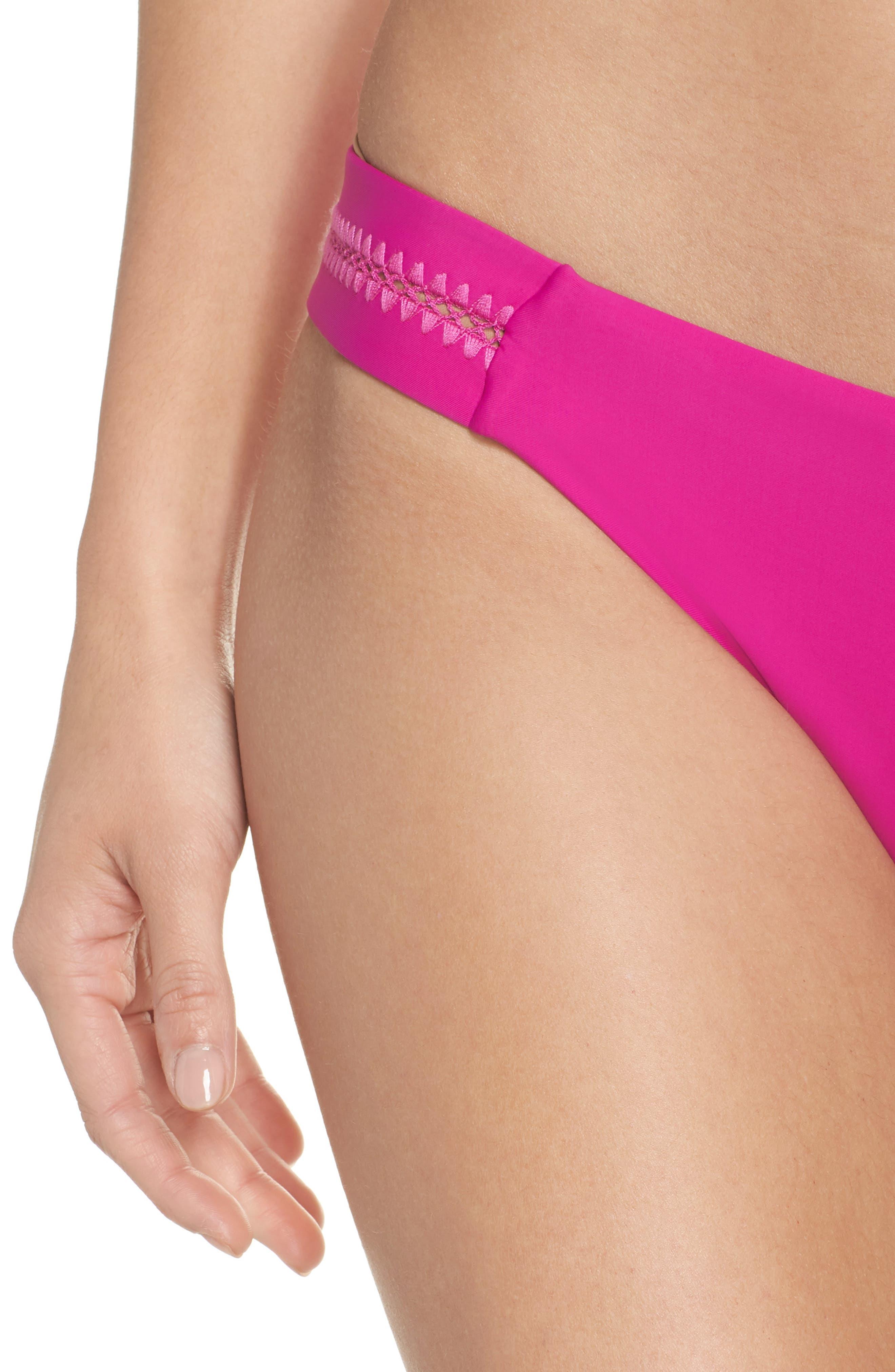 Teeny Stitched Bikini Bottoms,                             Alternate thumbnail 4, color,                             FUCHSIA