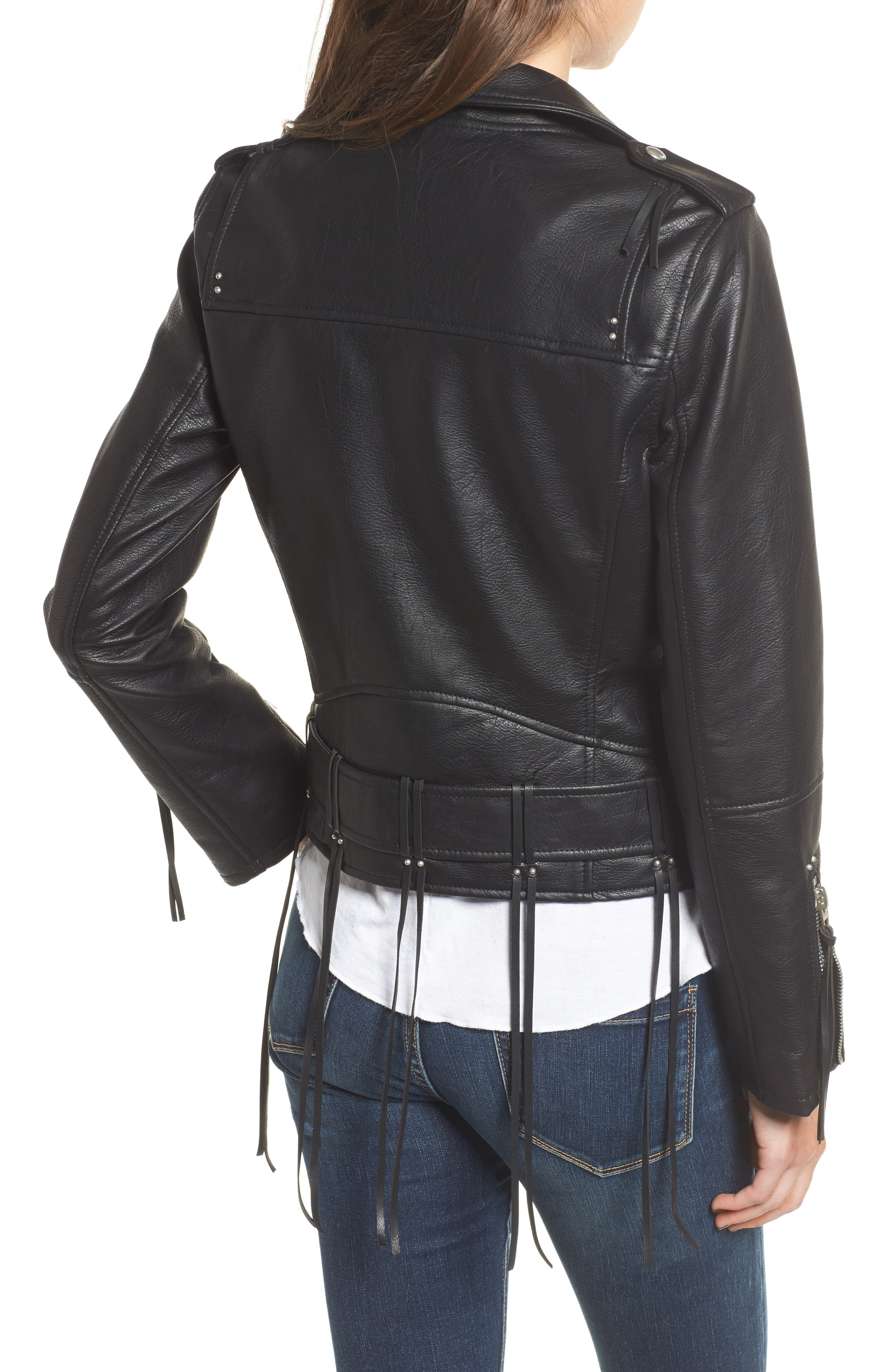 Faux Leather Tassel Moto Jacket,                             Alternate thumbnail 2, color,                             001