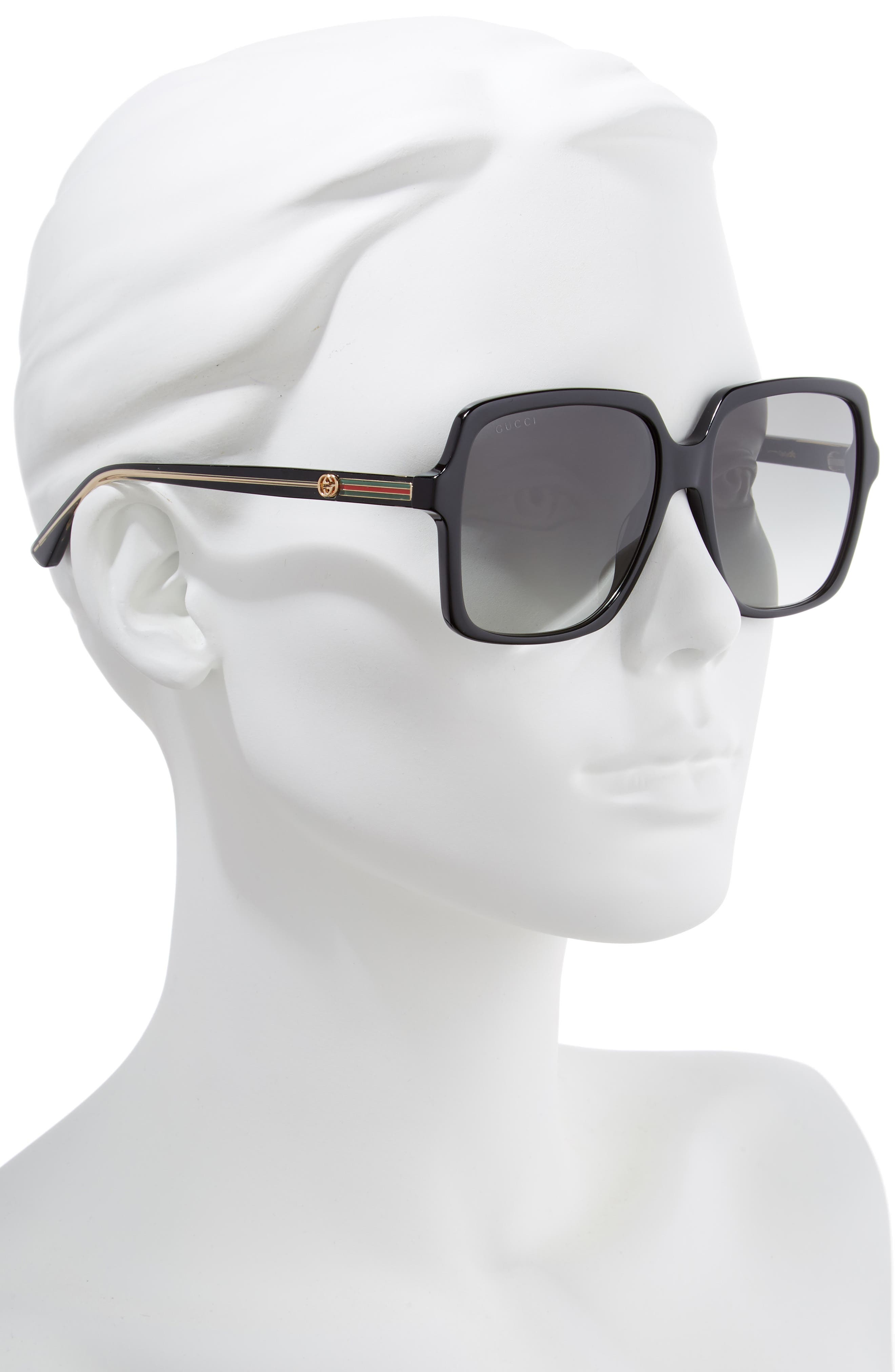 56mm Square Sunglasses,                             Alternate thumbnail 2, color,                             BLACK/ CRYSTAL/ GREY GRADIENT
