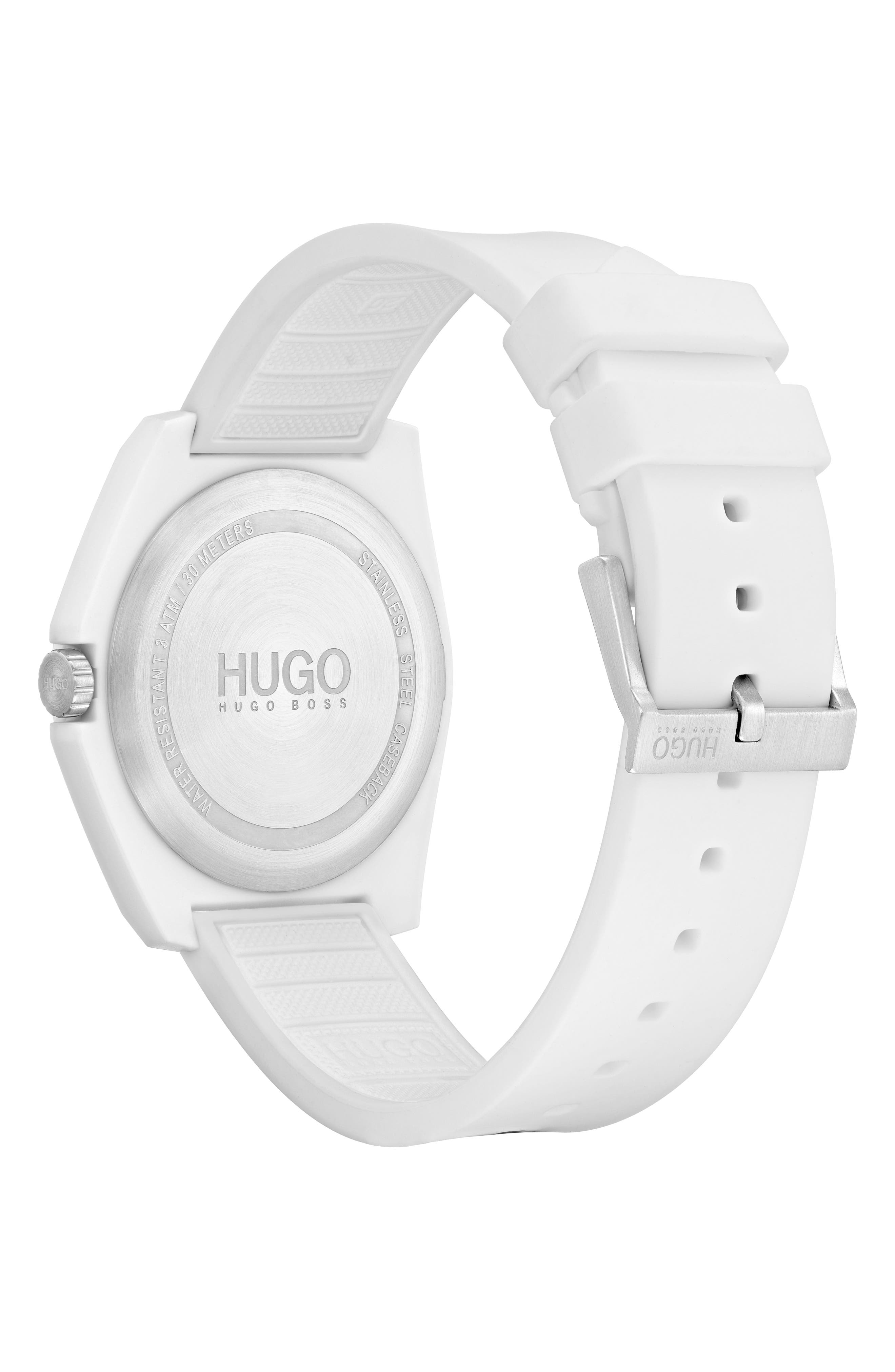 Play Rubber Strap Watch, 40mm,                             Alternate thumbnail 2, color,                             WHITE