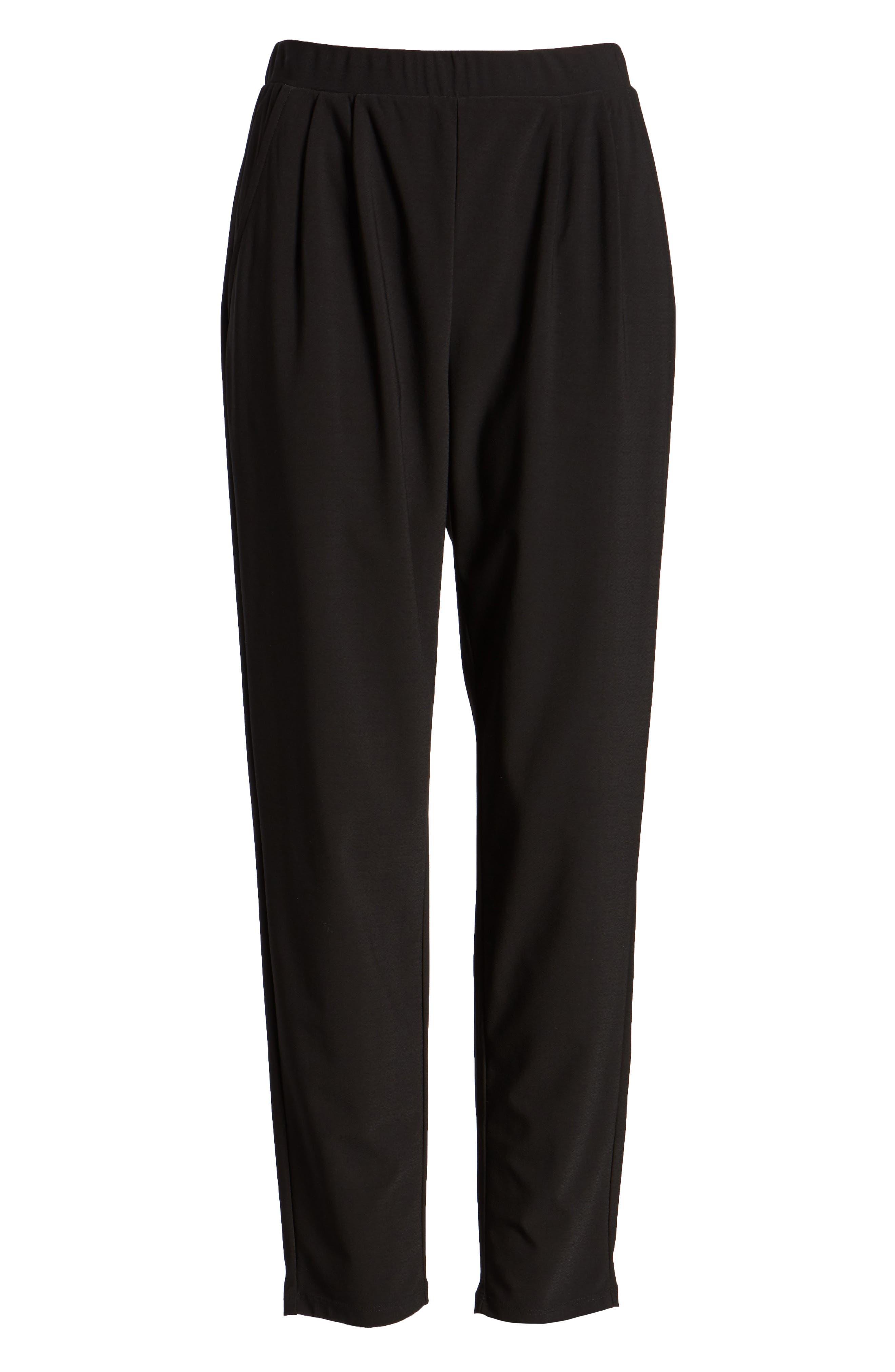 Pleat Front Trousers,                             Alternate thumbnail 7, color,                             BLACK
