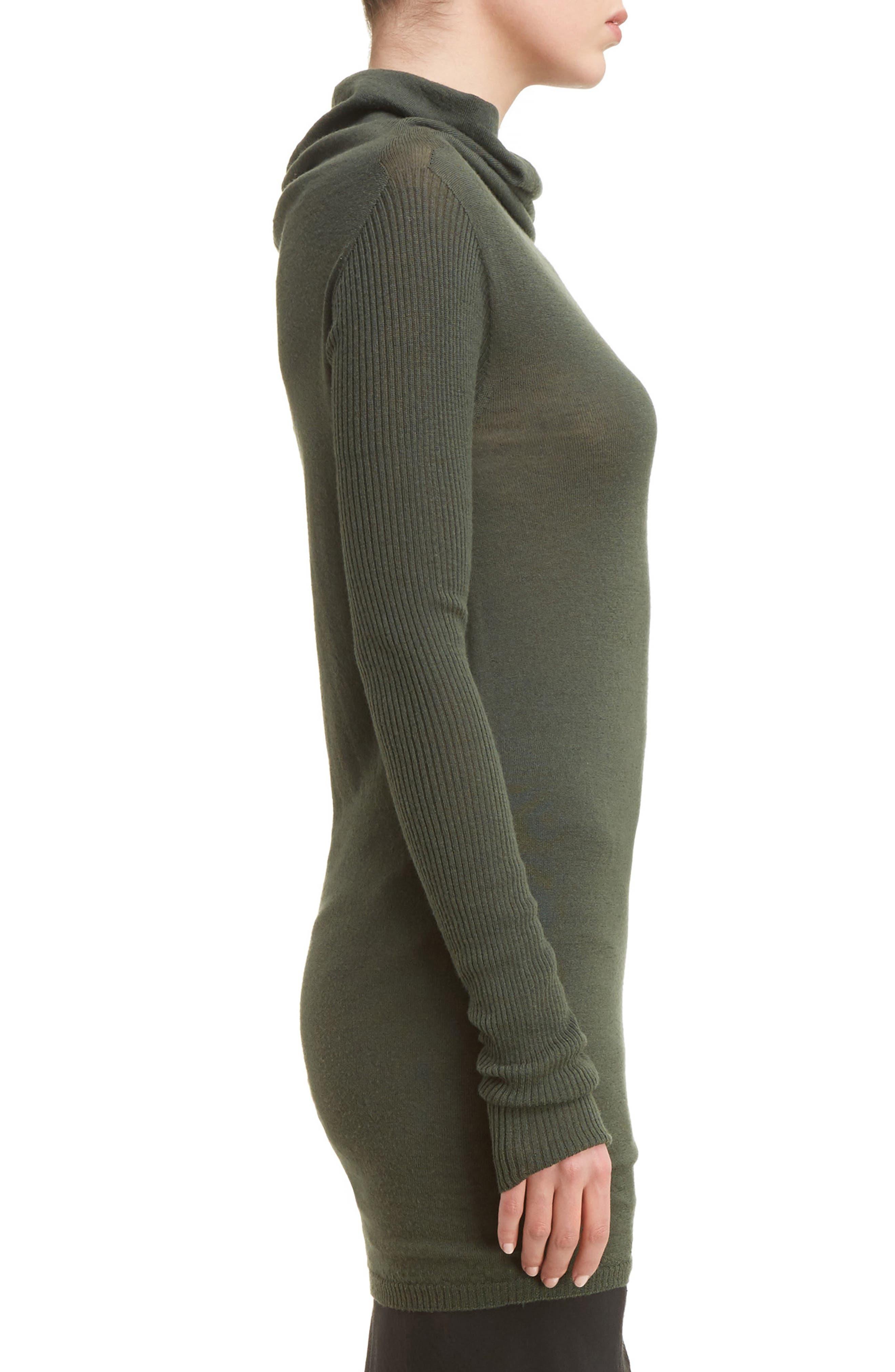 Drape Neck Wool Sweater,                             Alternate thumbnail 3, color,                             009
