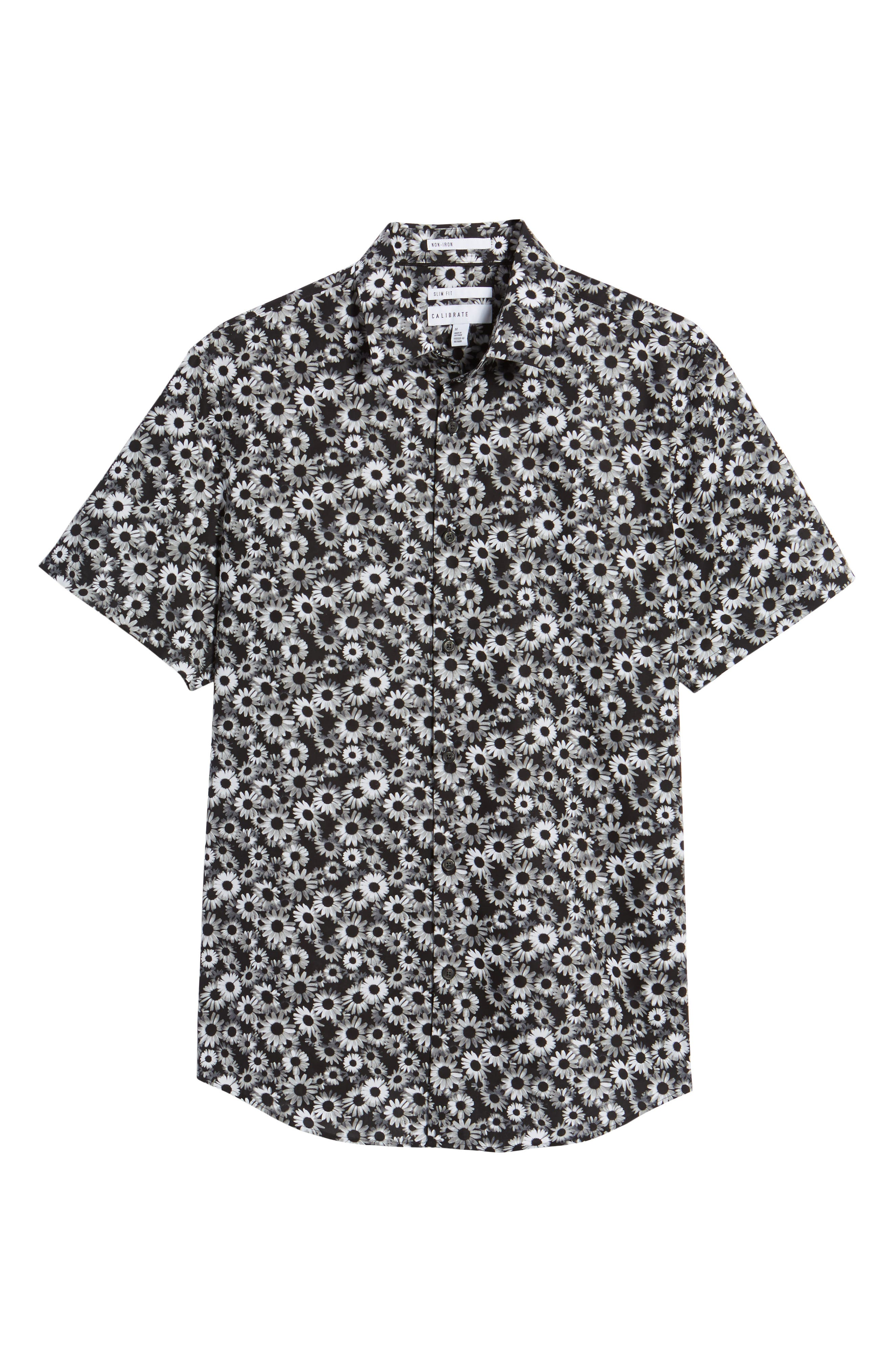 Floral Sport Shirt,                             Alternate thumbnail 6, color,                             BLACK WHITE DAISY FLORAL
