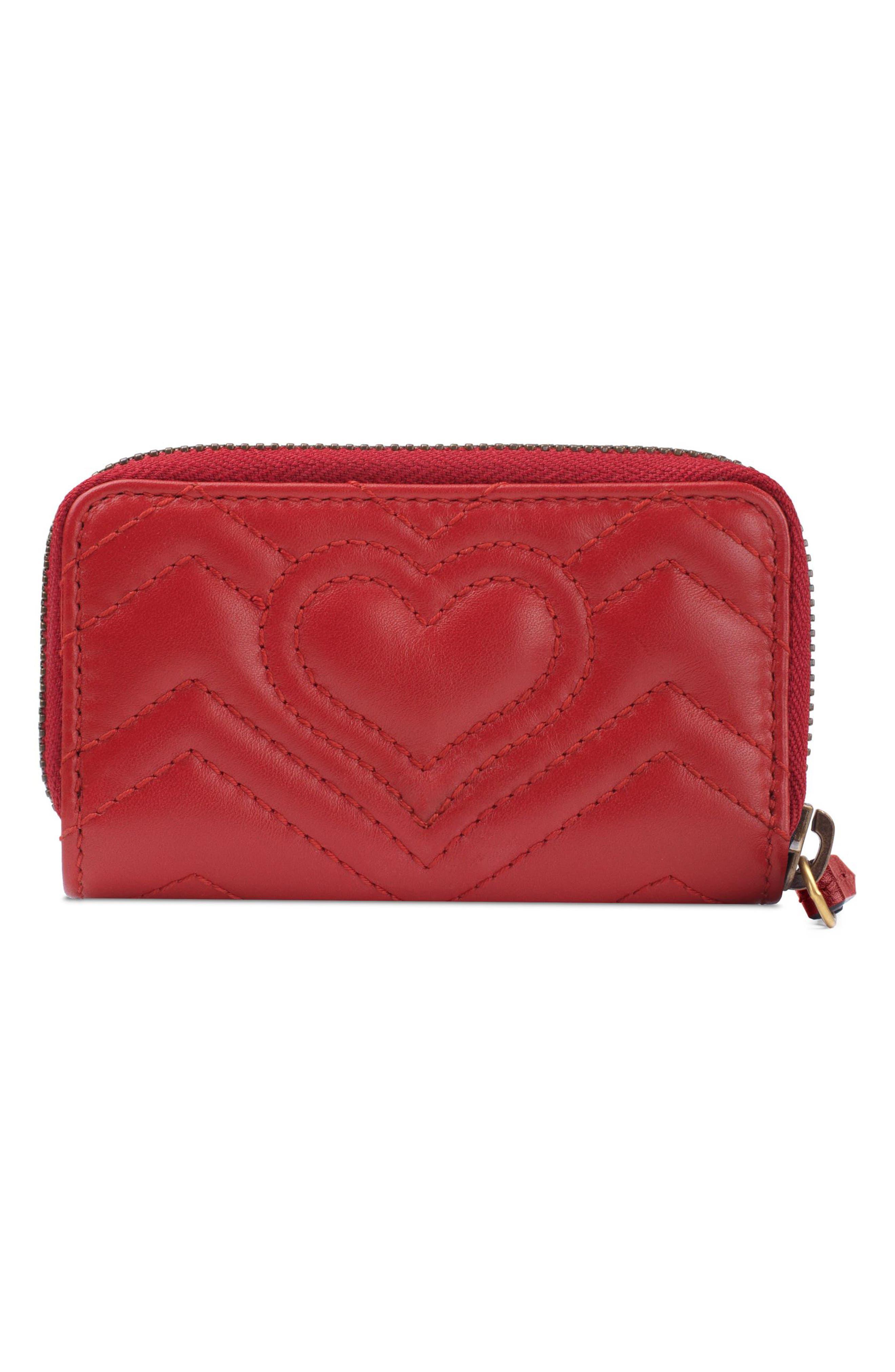 Marmont 2.0 Matelassé Leather Key Case Pouch,                             Alternate thumbnail 3, color,                             HIBISCUS RED