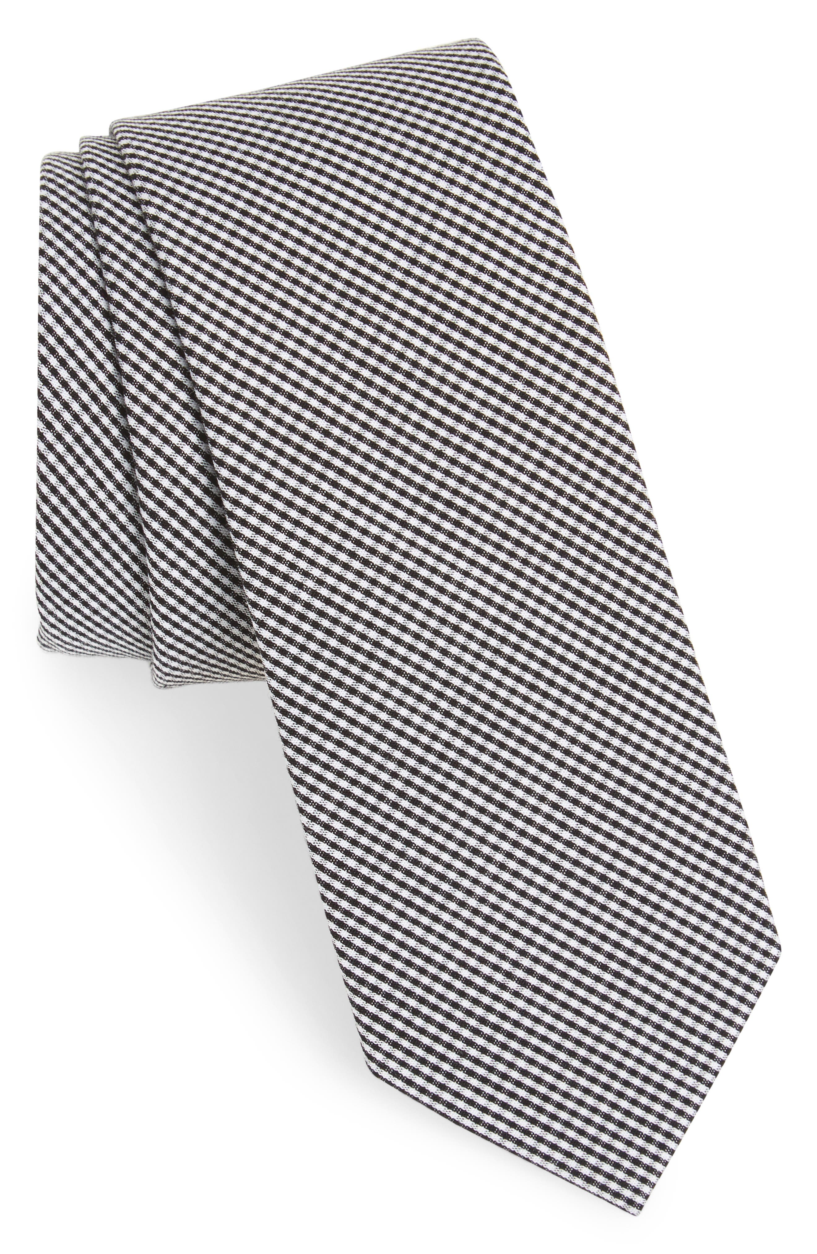 Check Cotton Tie,                         Main,                         color, 001