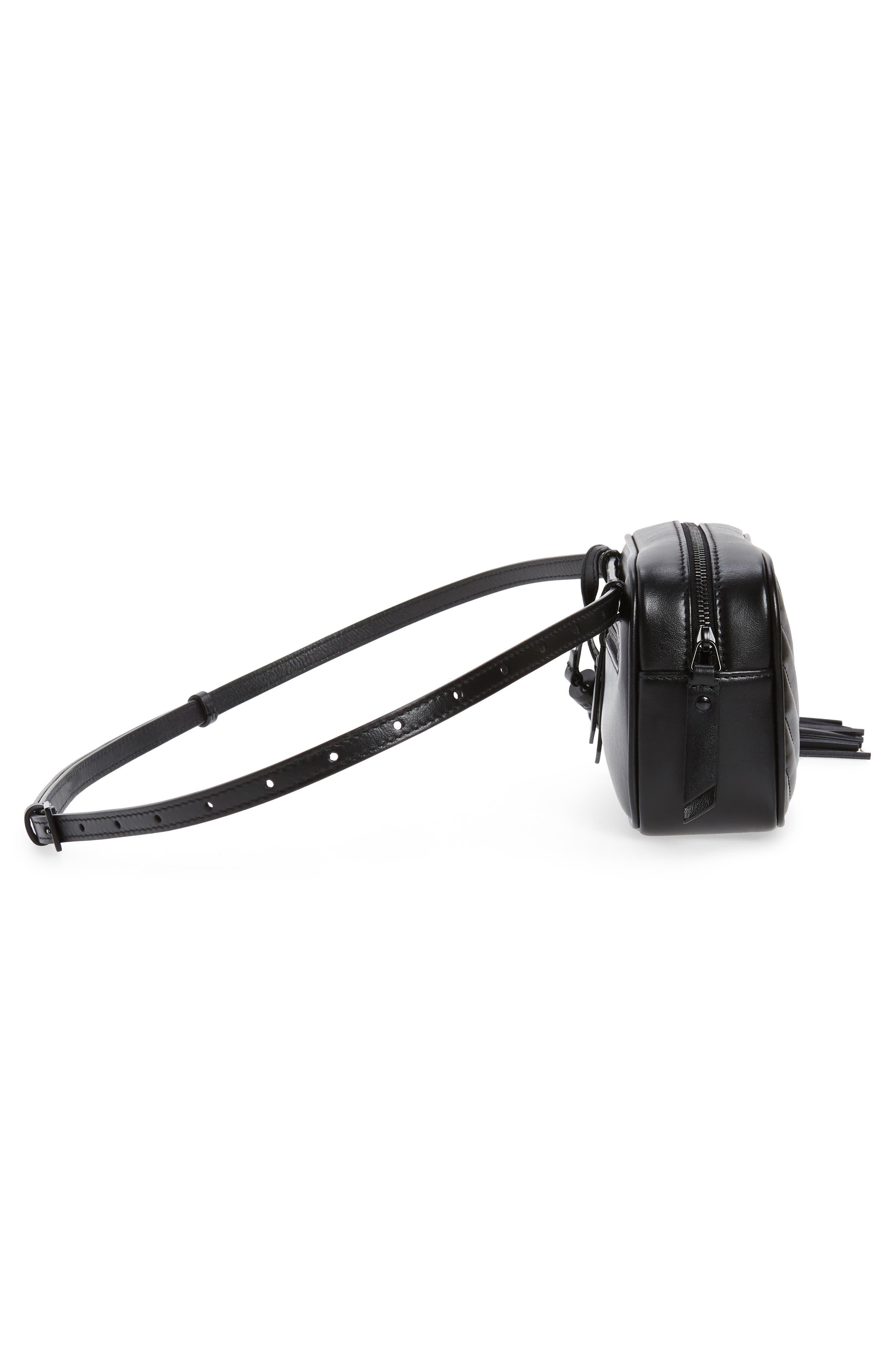 Lou Matelassé Leather Belt Bag,                             Alternate thumbnail 6, color,                             NOIR