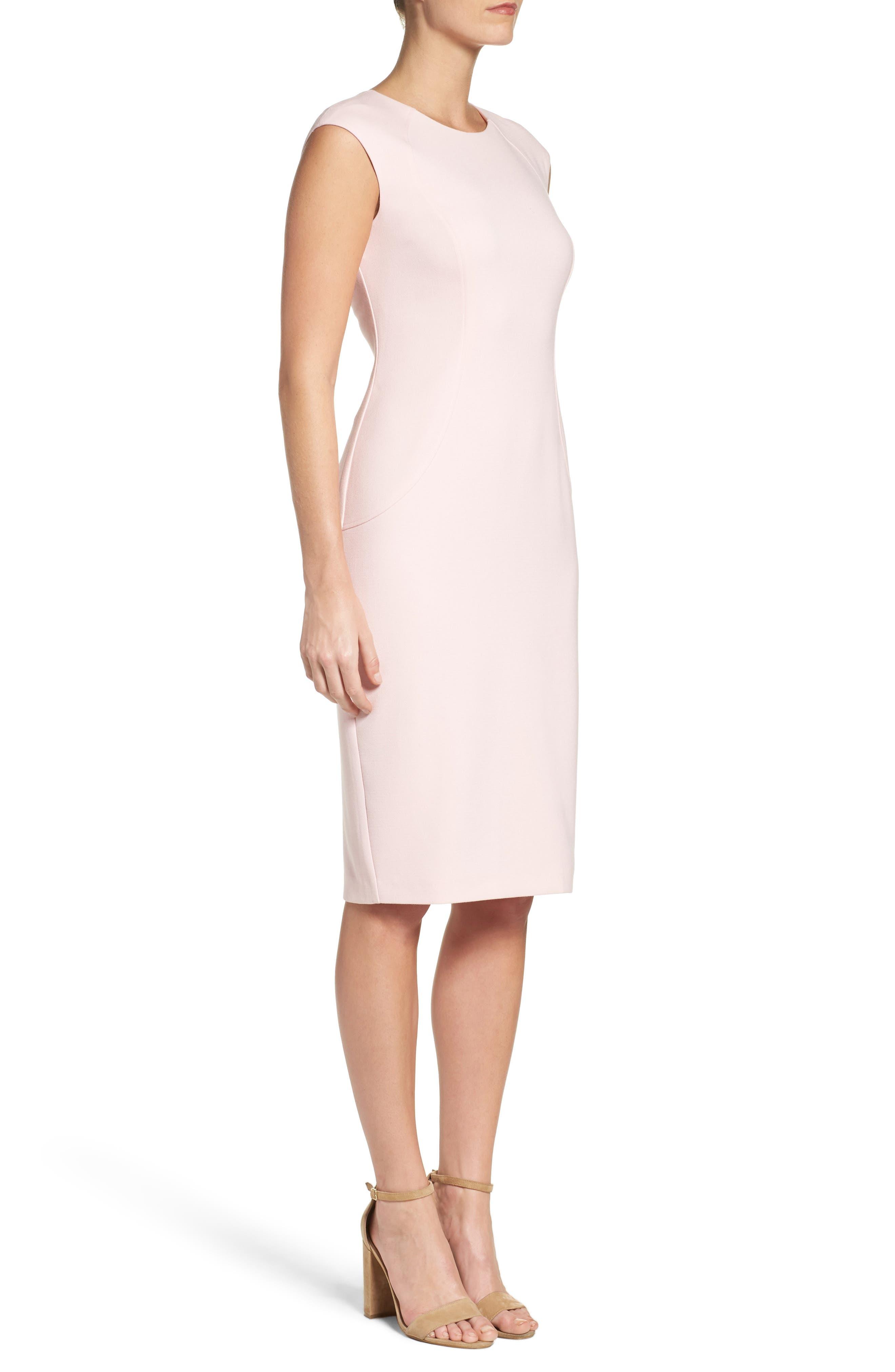 Cap Sleeve Crepe Sheath Dress,                             Alternate thumbnail 6, color,