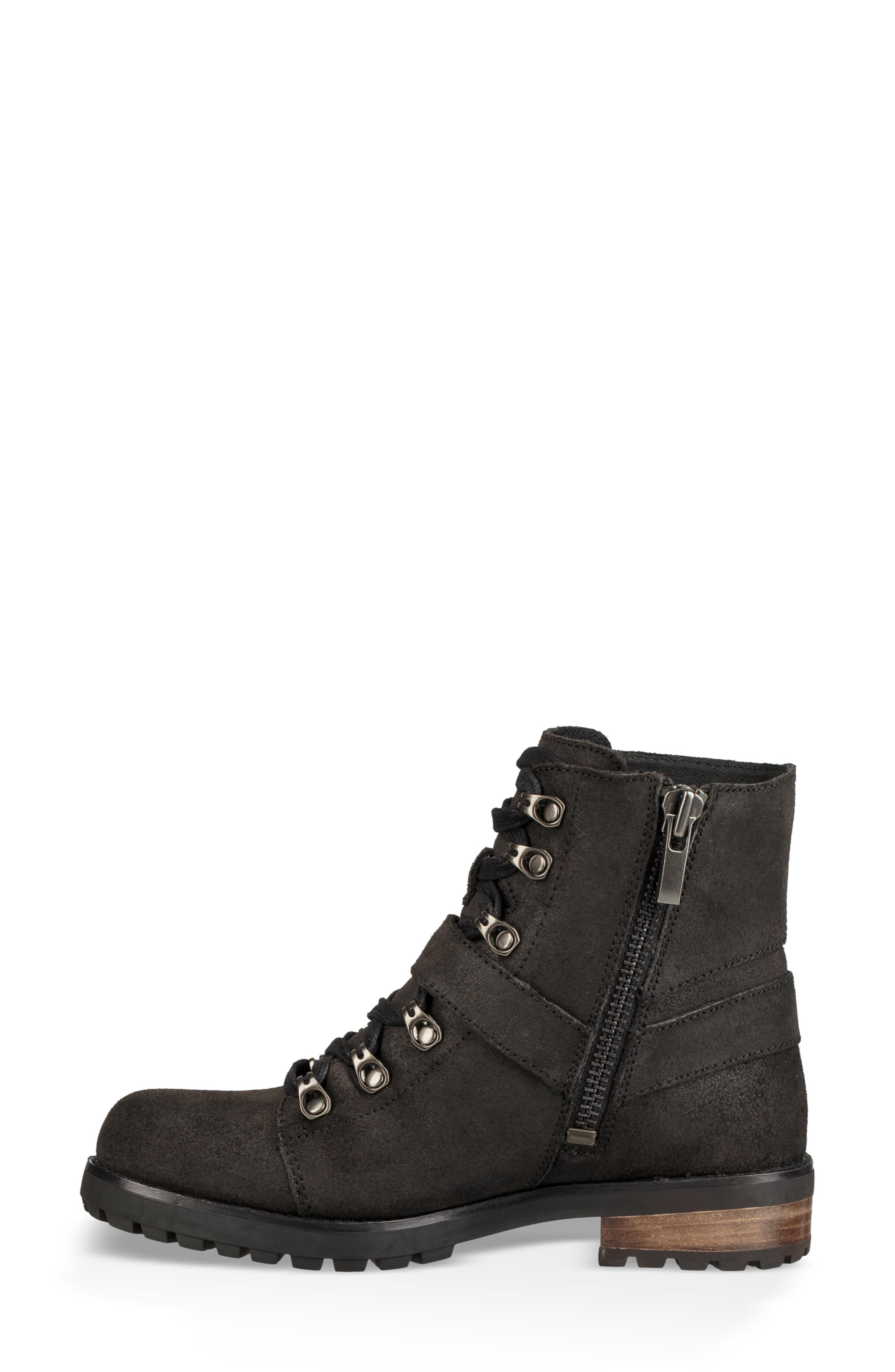 Fritzi Water Resistant Lace-Up Bootie,                             Alternate thumbnail 6, color,                             BLACK LEATHER