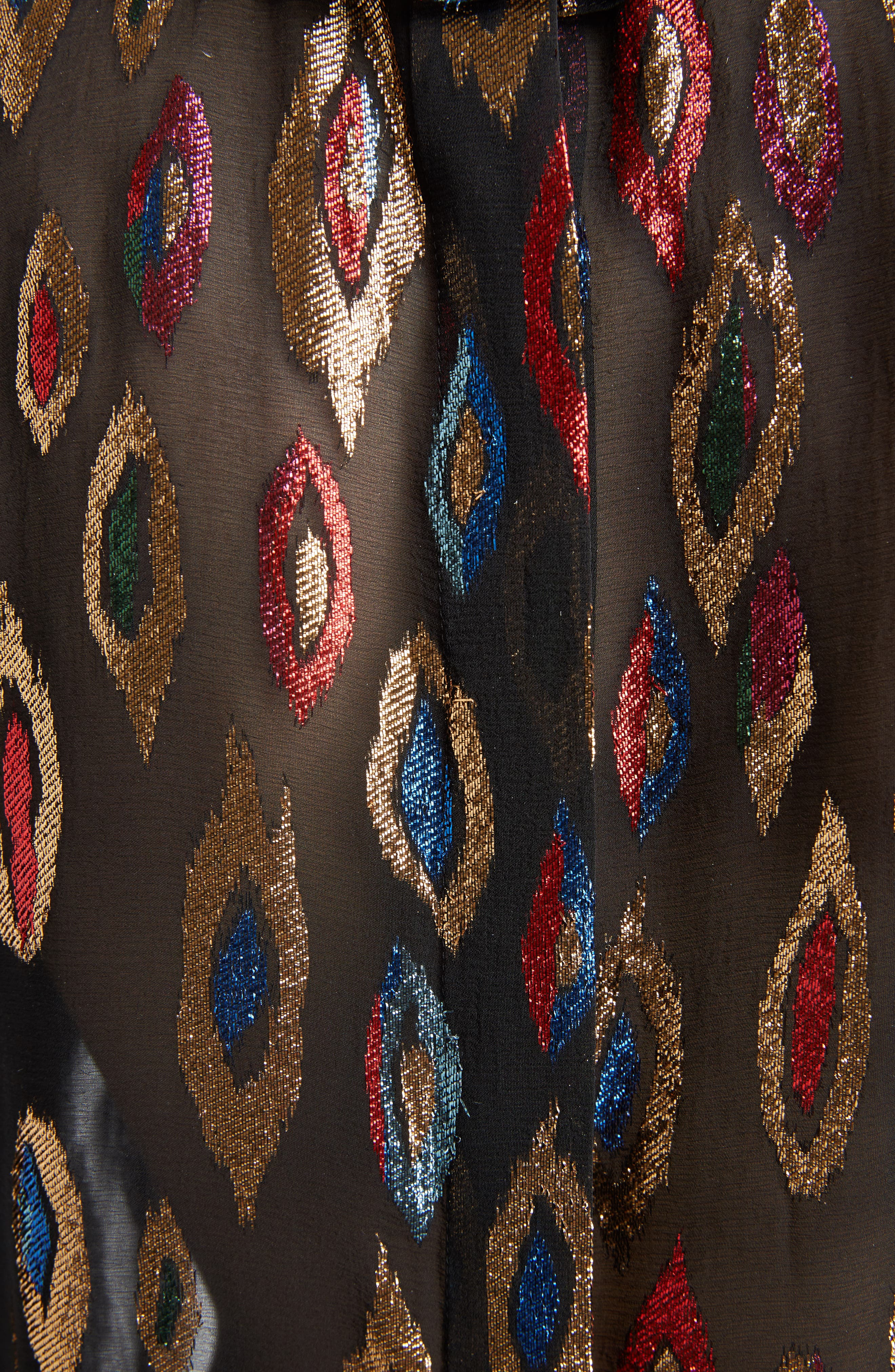 Flame Fil Coupé Silk Blouse,                             Alternate thumbnail 5, color,                             001