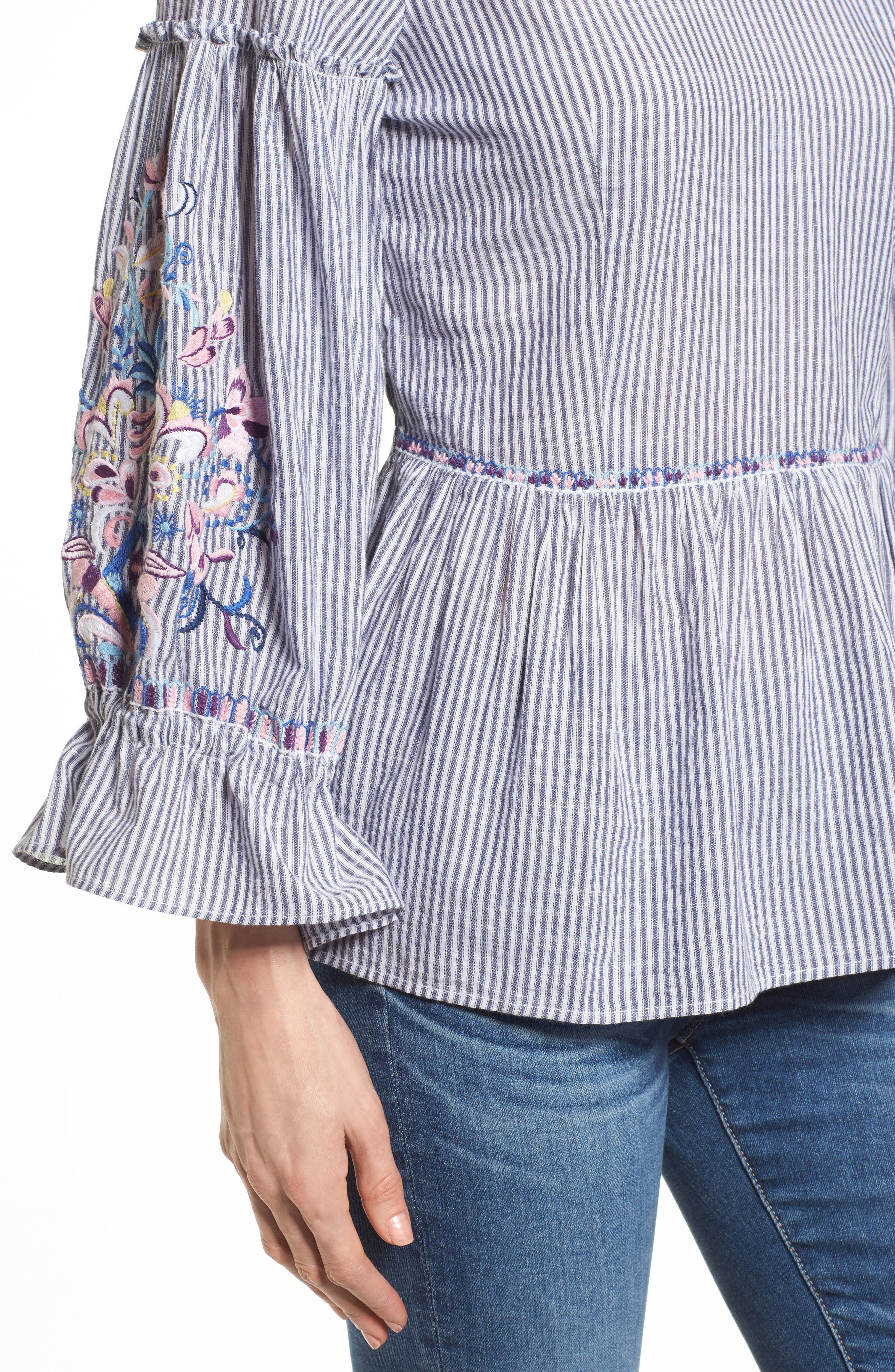 Embroidered Sleeve Top,                             Alternate thumbnail 7, color,
