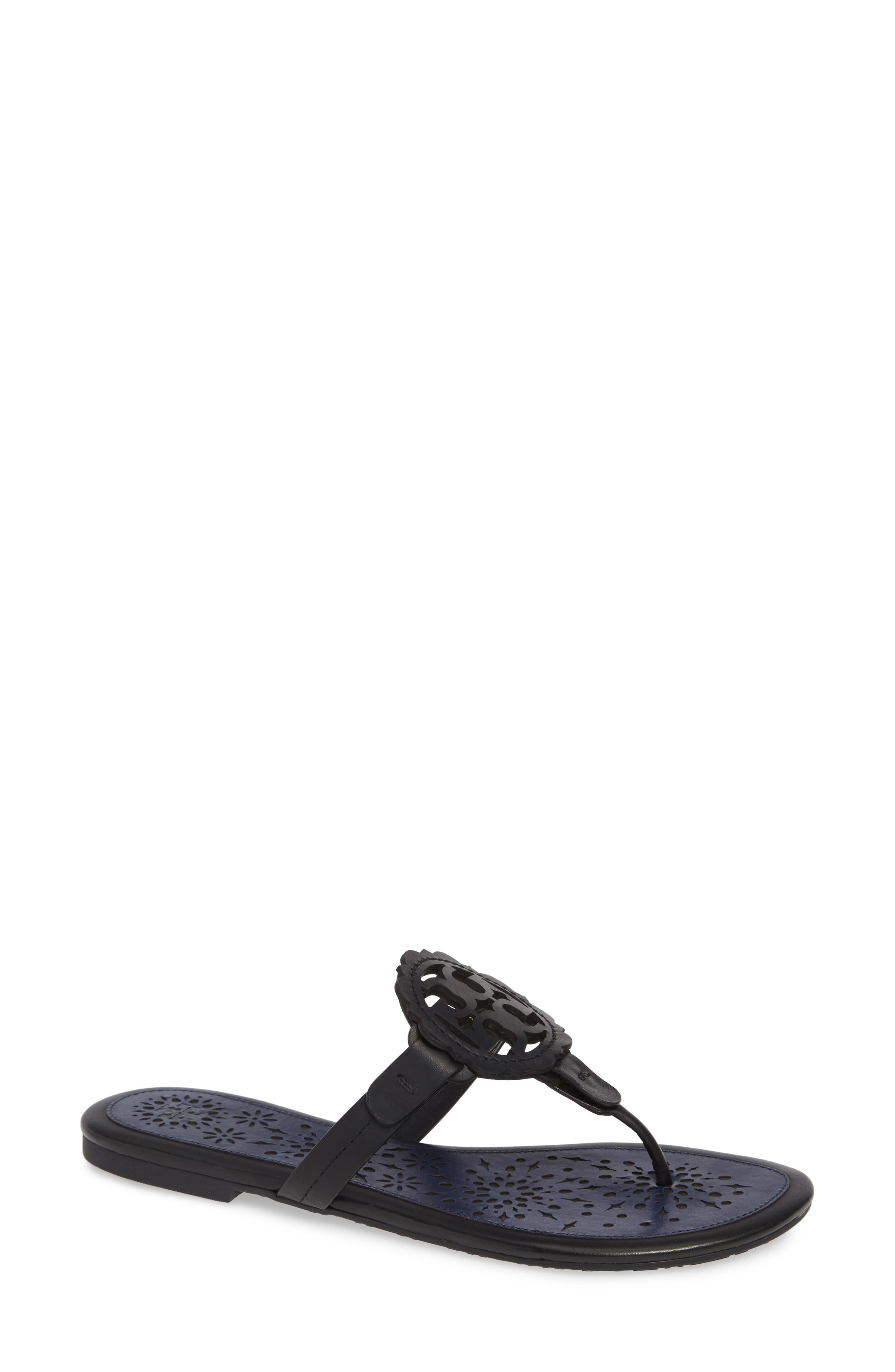 Women'S Miller Scallop Leather Thong Sandals in Perfect Black/ Perfect Navy