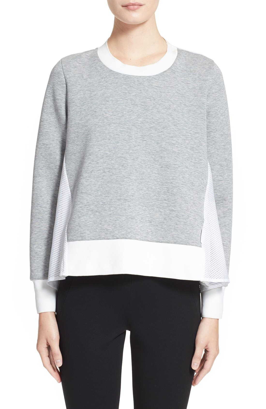 'Maglia Girocollo' Mixed Media Sweatshirt, Main, color, 021