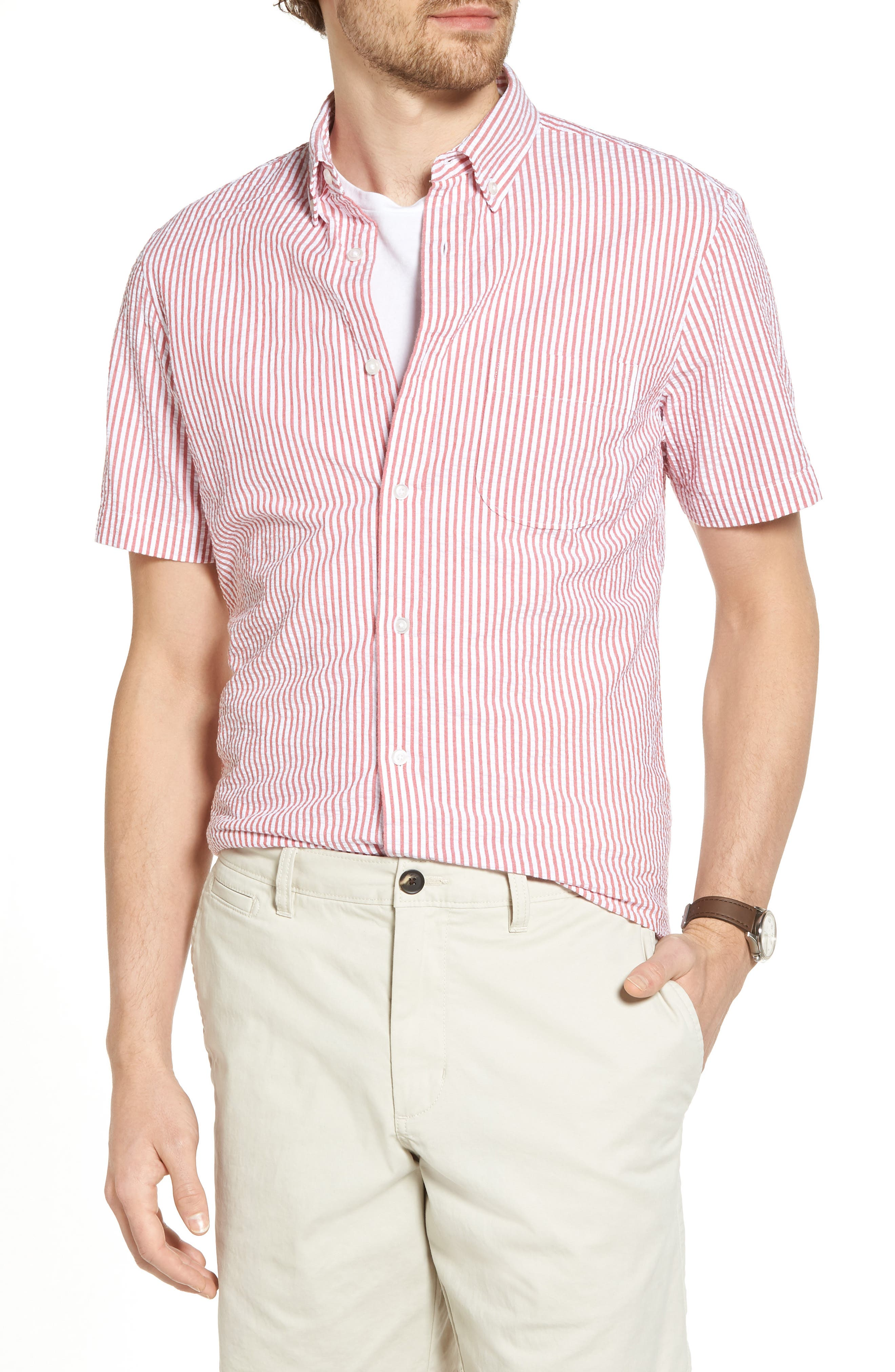 Stripe Seersucker Sport Shirt,                             Main thumbnail 3, color,