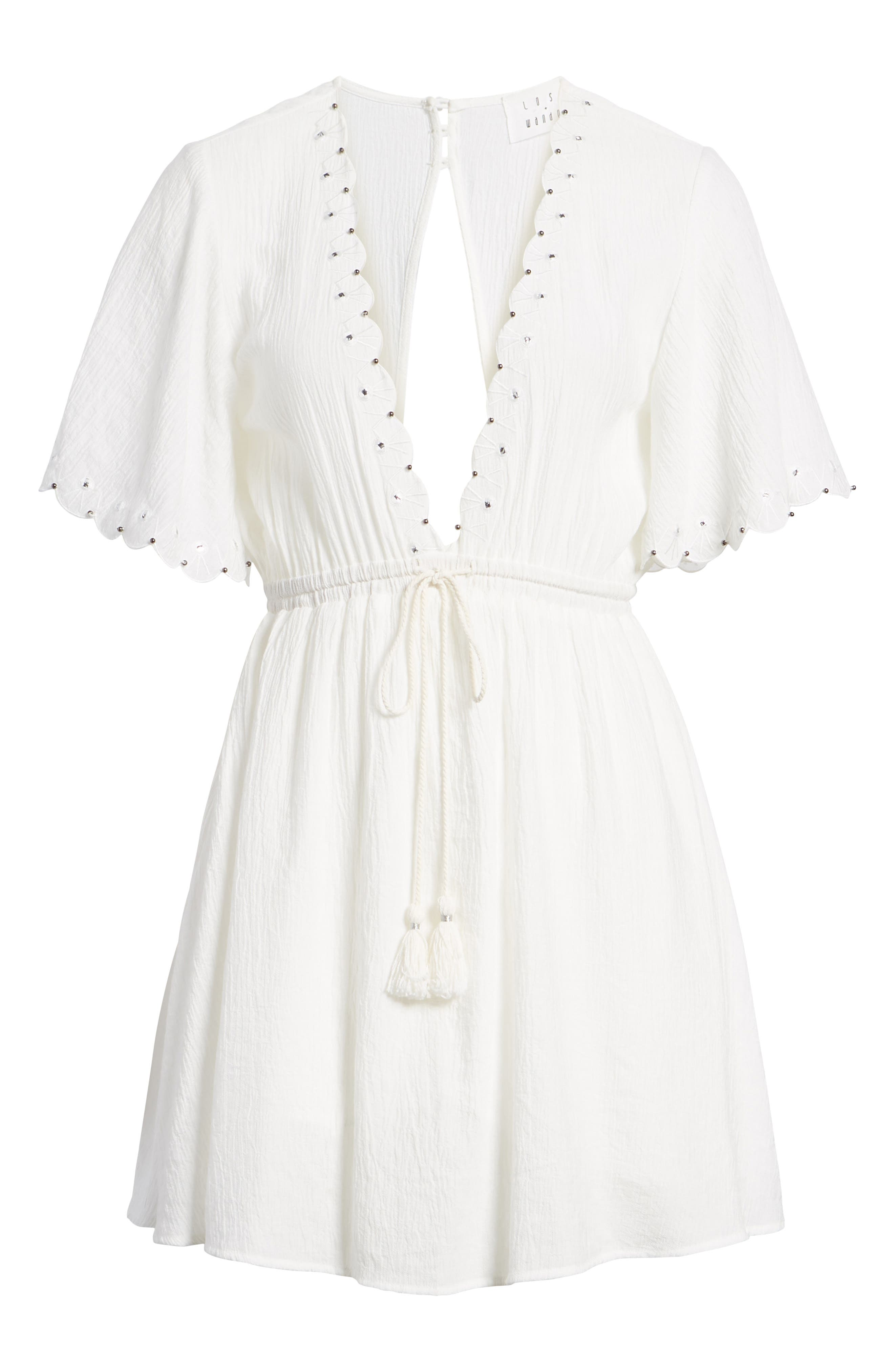 Magnolia Flutter Sleeve Dress,                             Alternate thumbnail 7, color,                             100