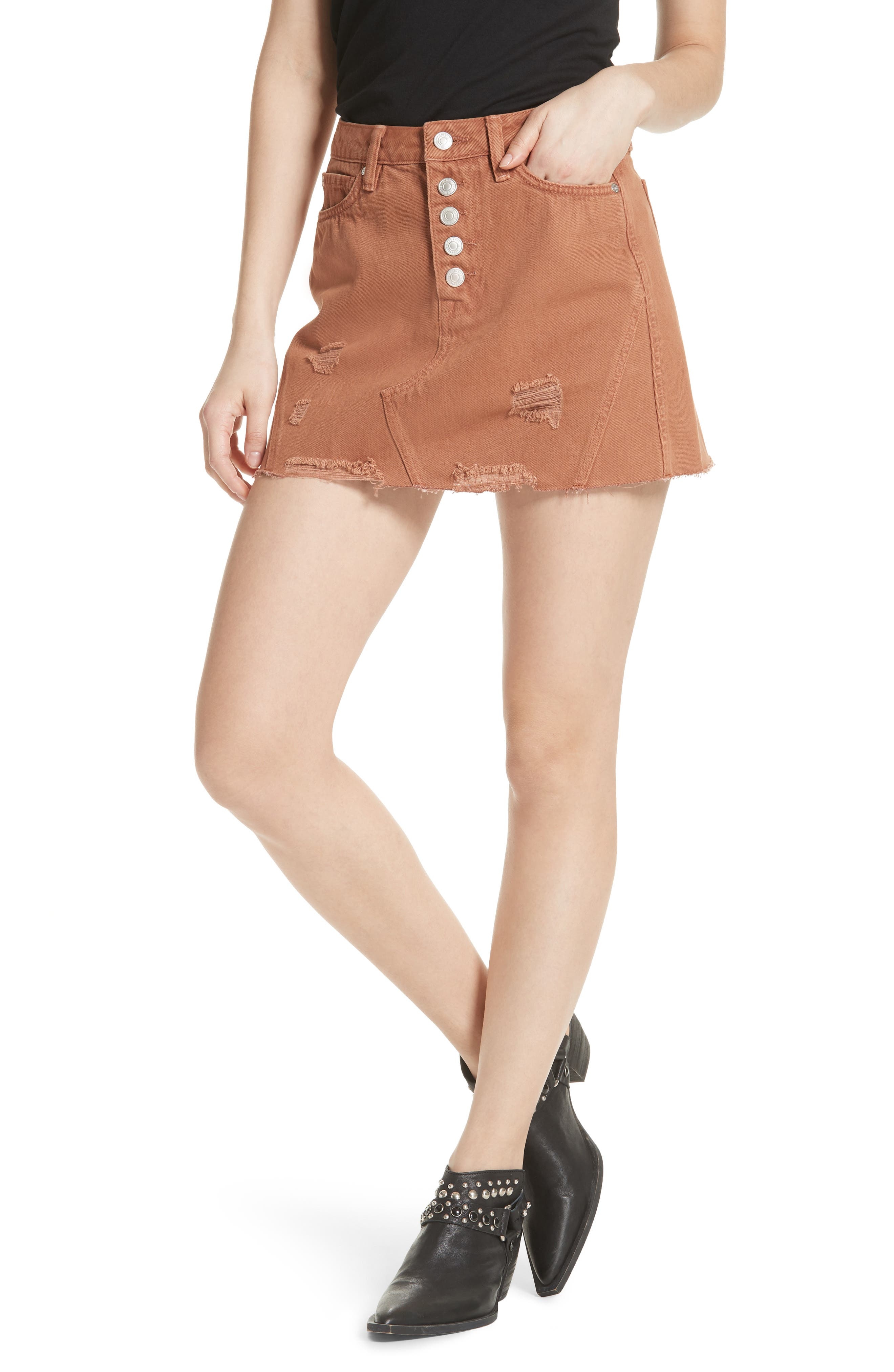 We the Free by Free People Denim A-Line Skirt,                             Main thumbnail 1, color,                             625
