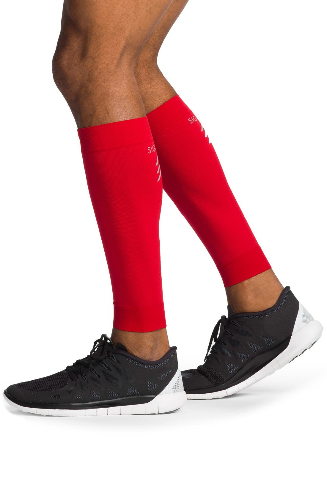 'Sports' Graduated Compression Performance Calf Sleeve,                             Alternate thumbnail 2, color,                             RED
