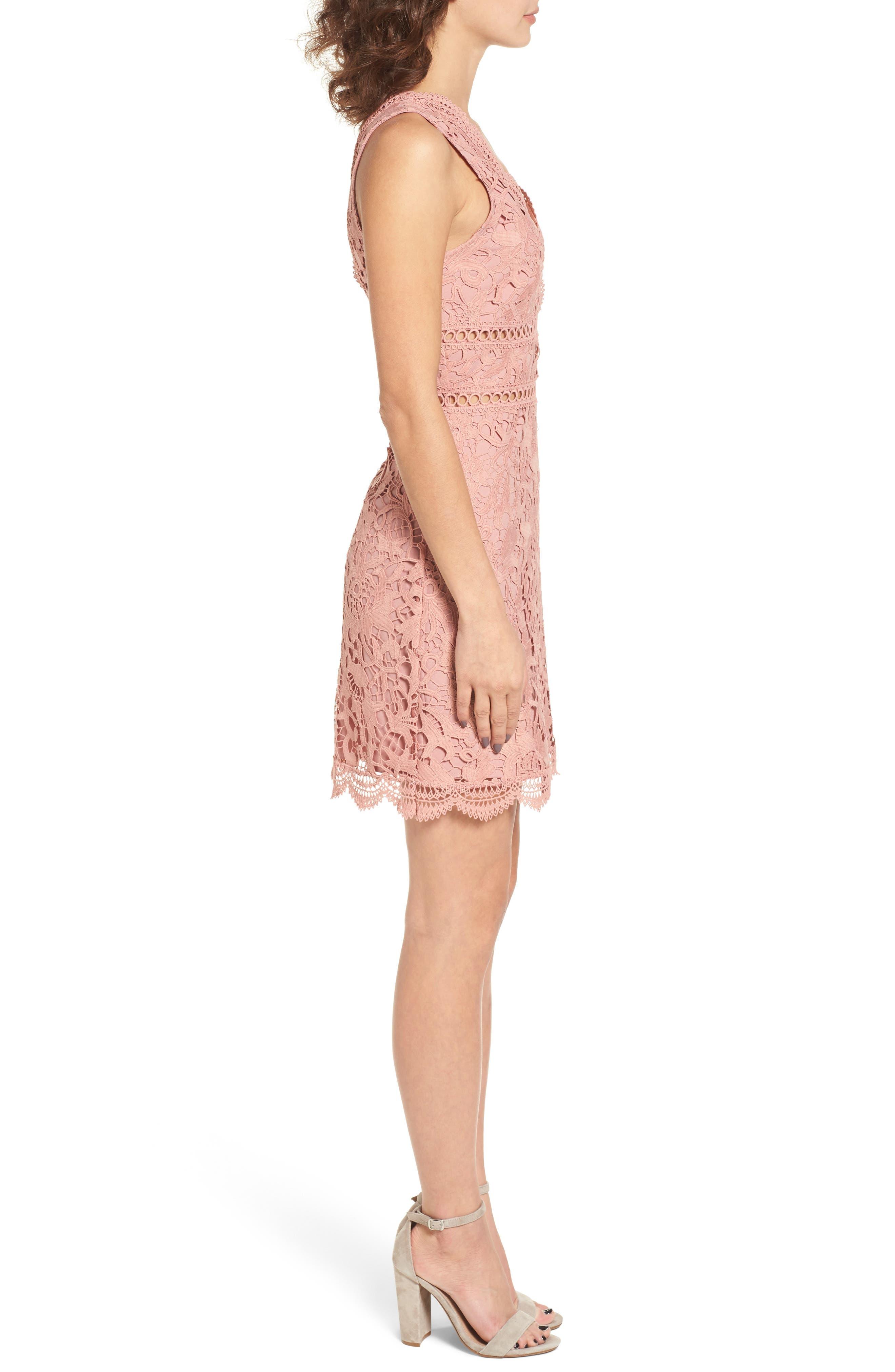 Lace Minidress,                             Alternate thumbnail 3, color,