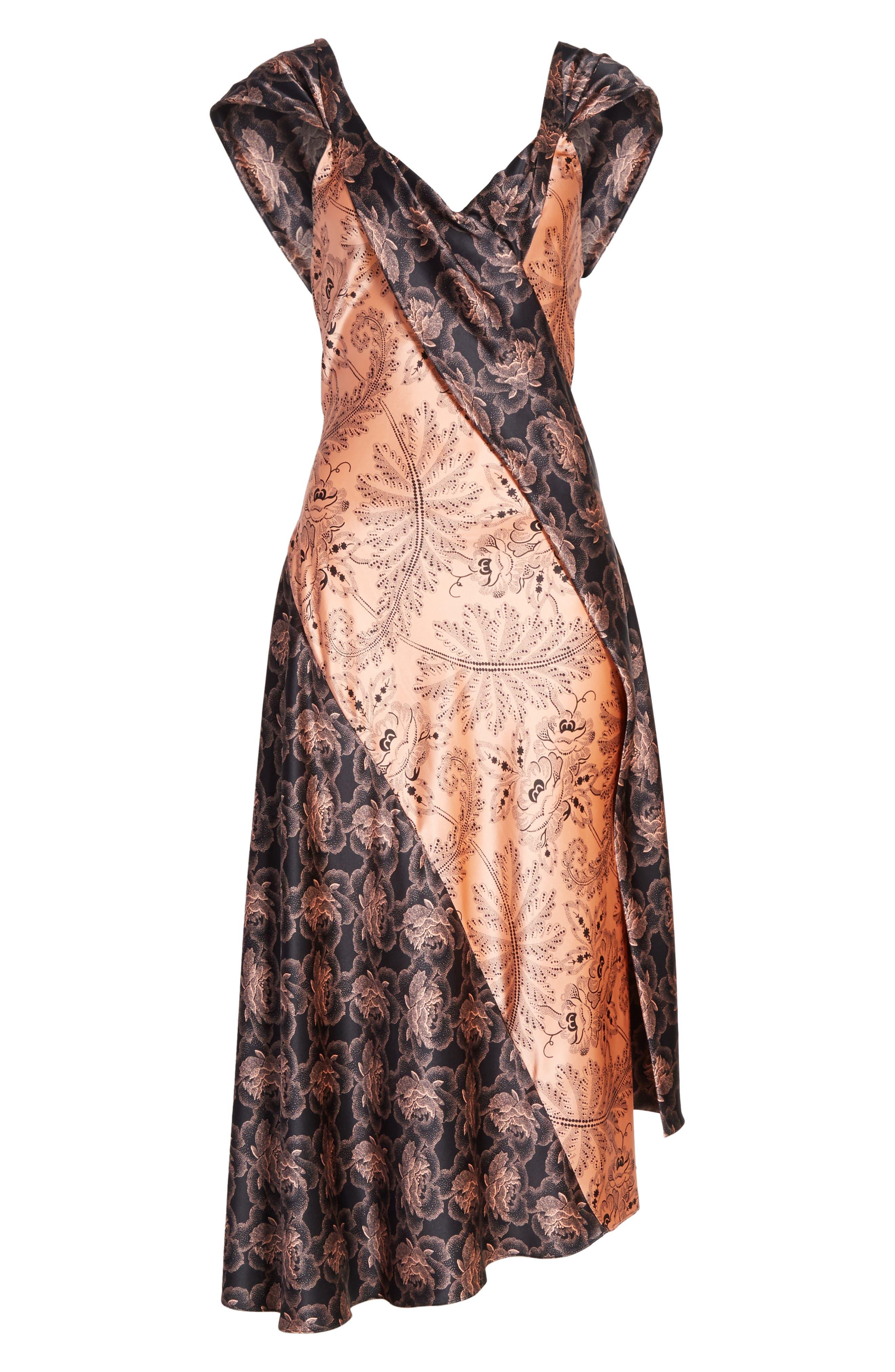 Diane von Furstenberg Draped Mixed Floral Midi Dress,                             Alternate thumbnail 6, color,                             654