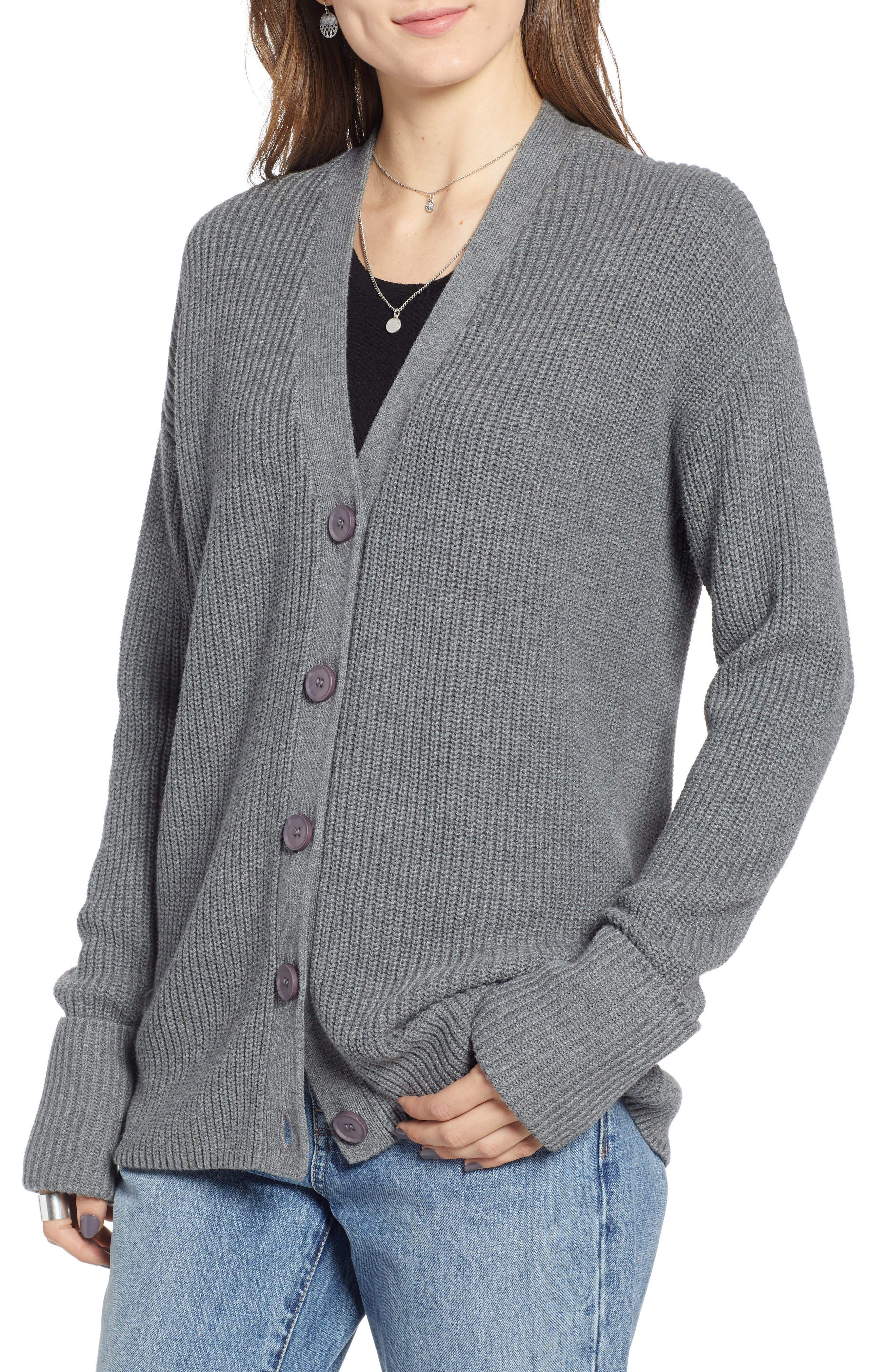 Ribbed Cardigan Sweater,                             Alternate thumbnail 4, color,                             GREY DARK HEATHER