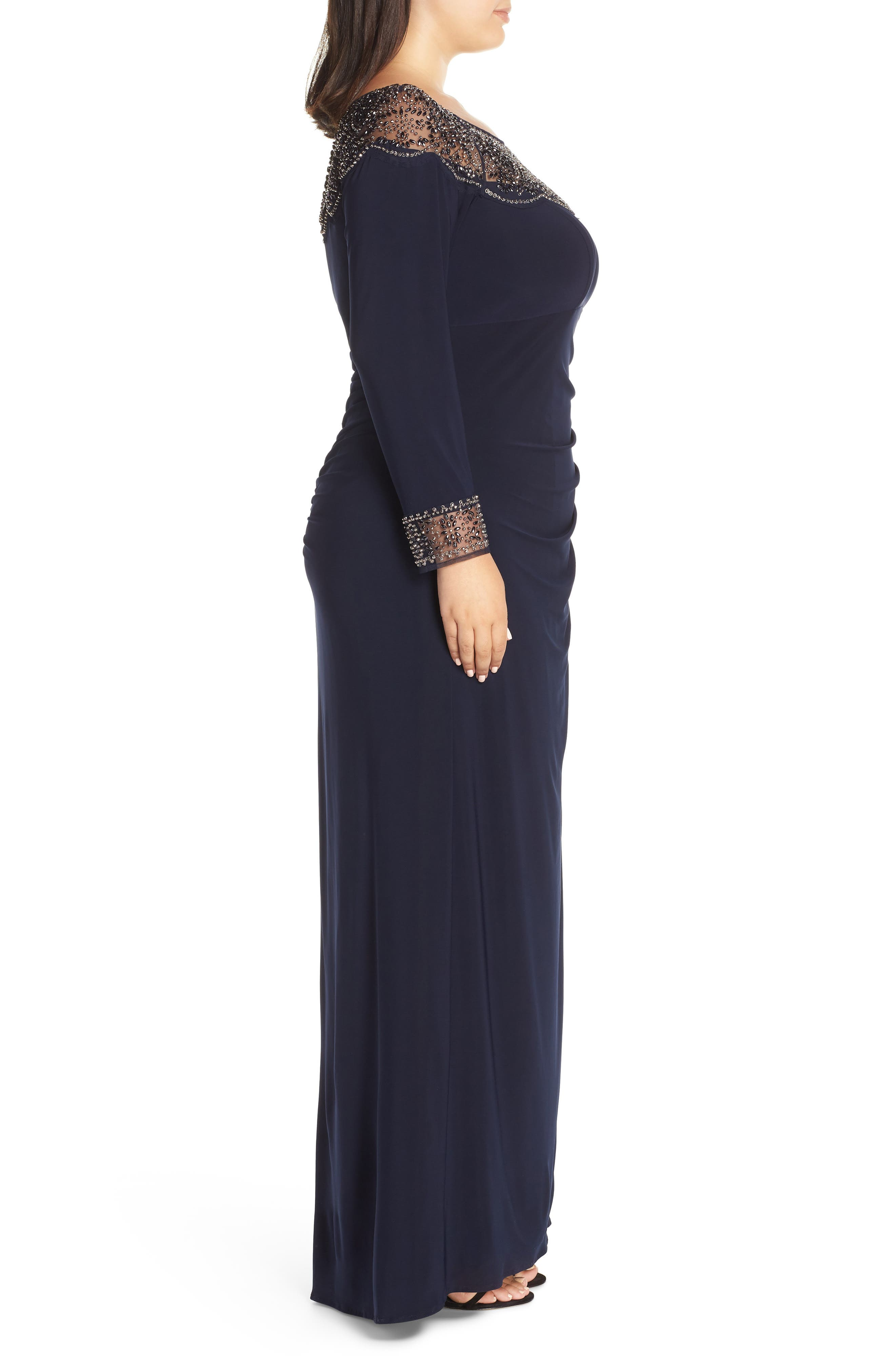 Side Ruched Beaded Gown,                             Alternate thumbnail 3, color,                             NAVY/ GUN