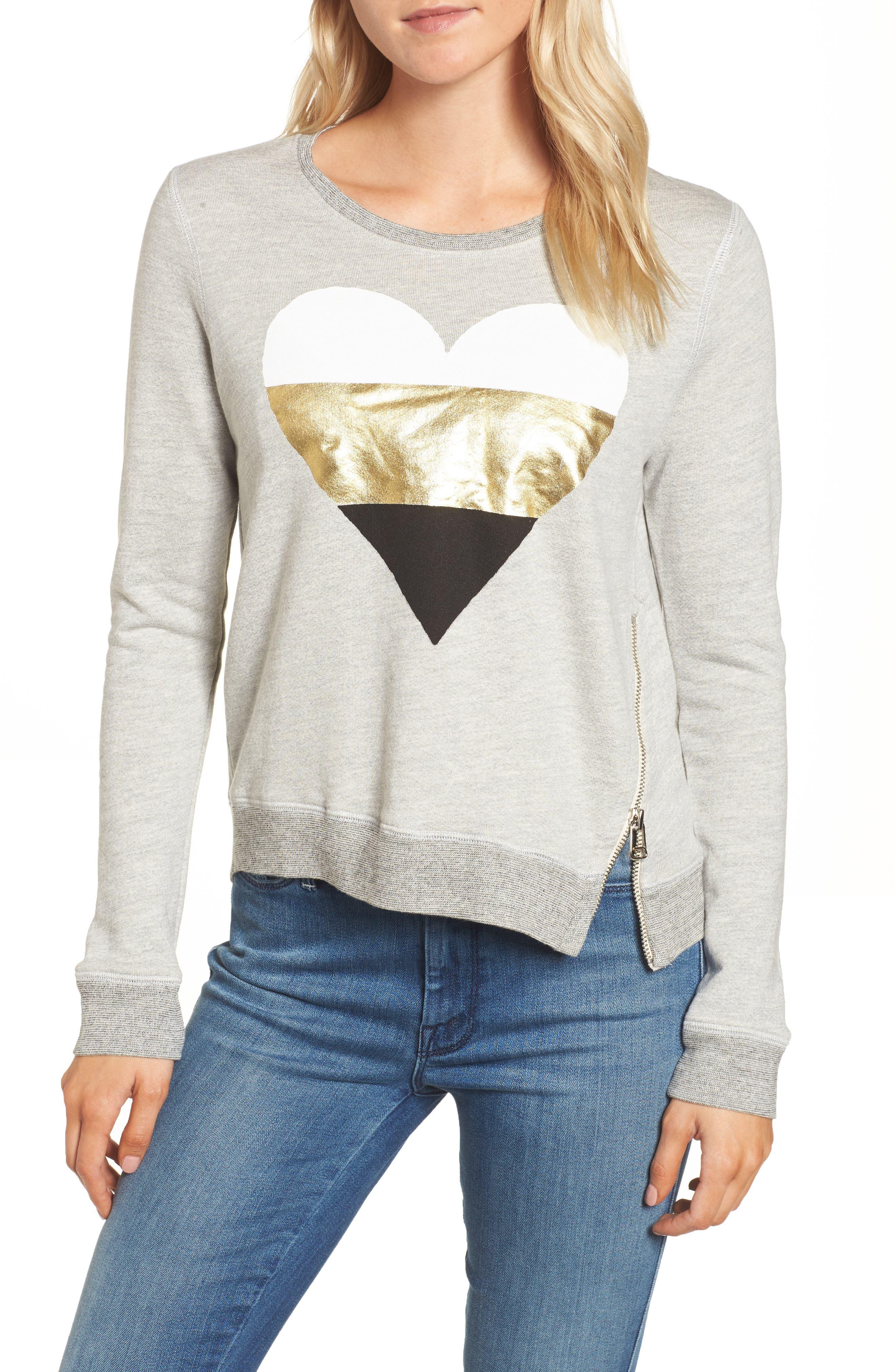 Heart Side Zip Sweatshirt, Main, color, 039