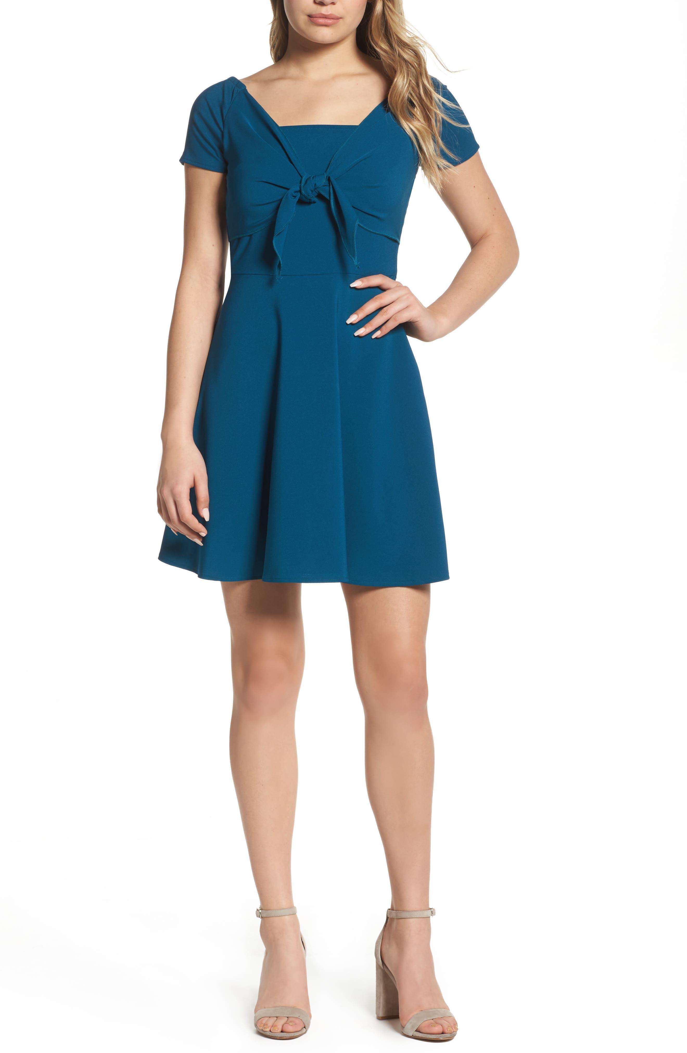 Tie Front Crepe Fit & Flare Dress,                             Main thumbnail 2, color,