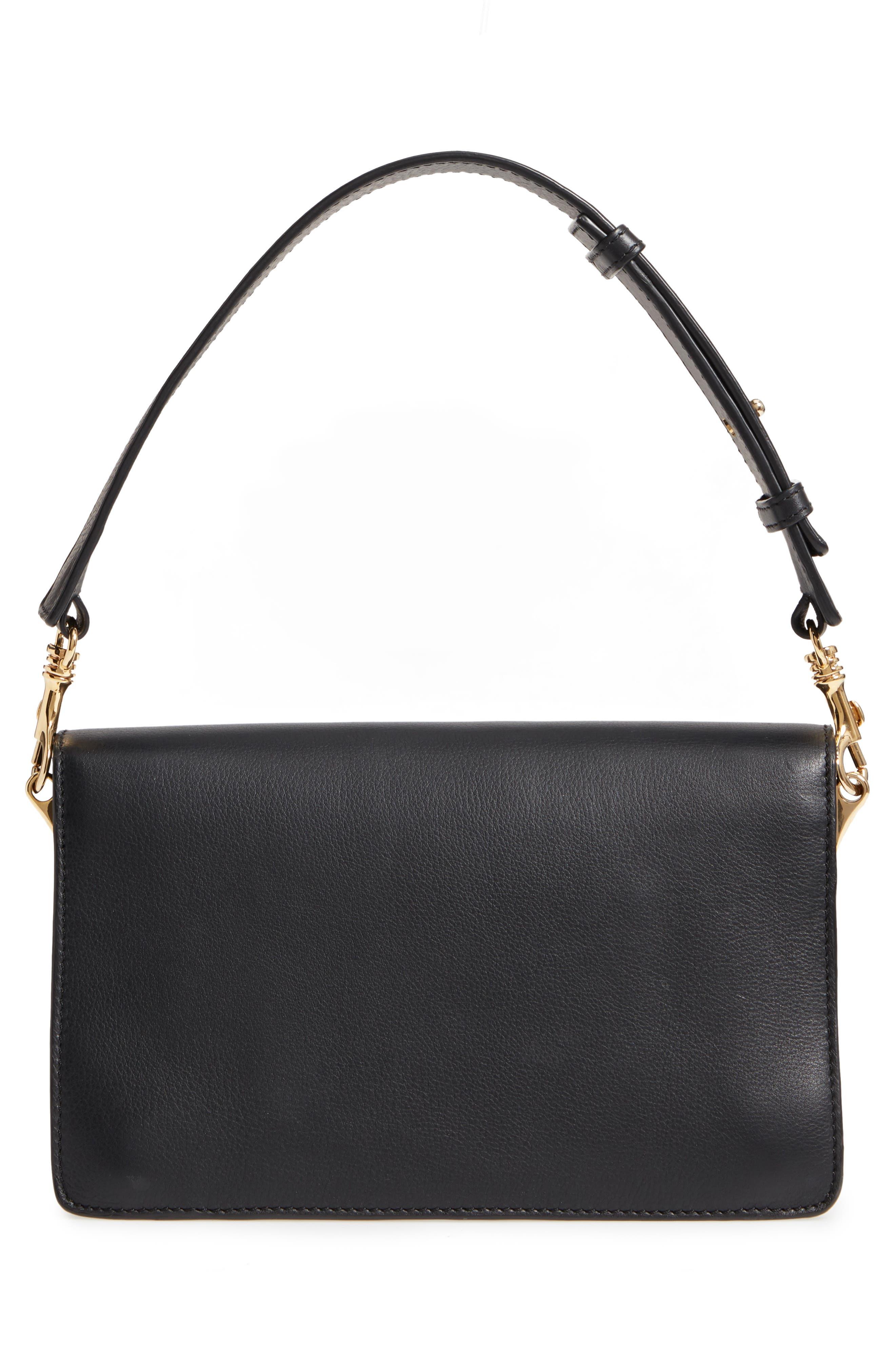 Logo Leather Shoulder Bag,                             Alternate thumbnail 4, color,                             001