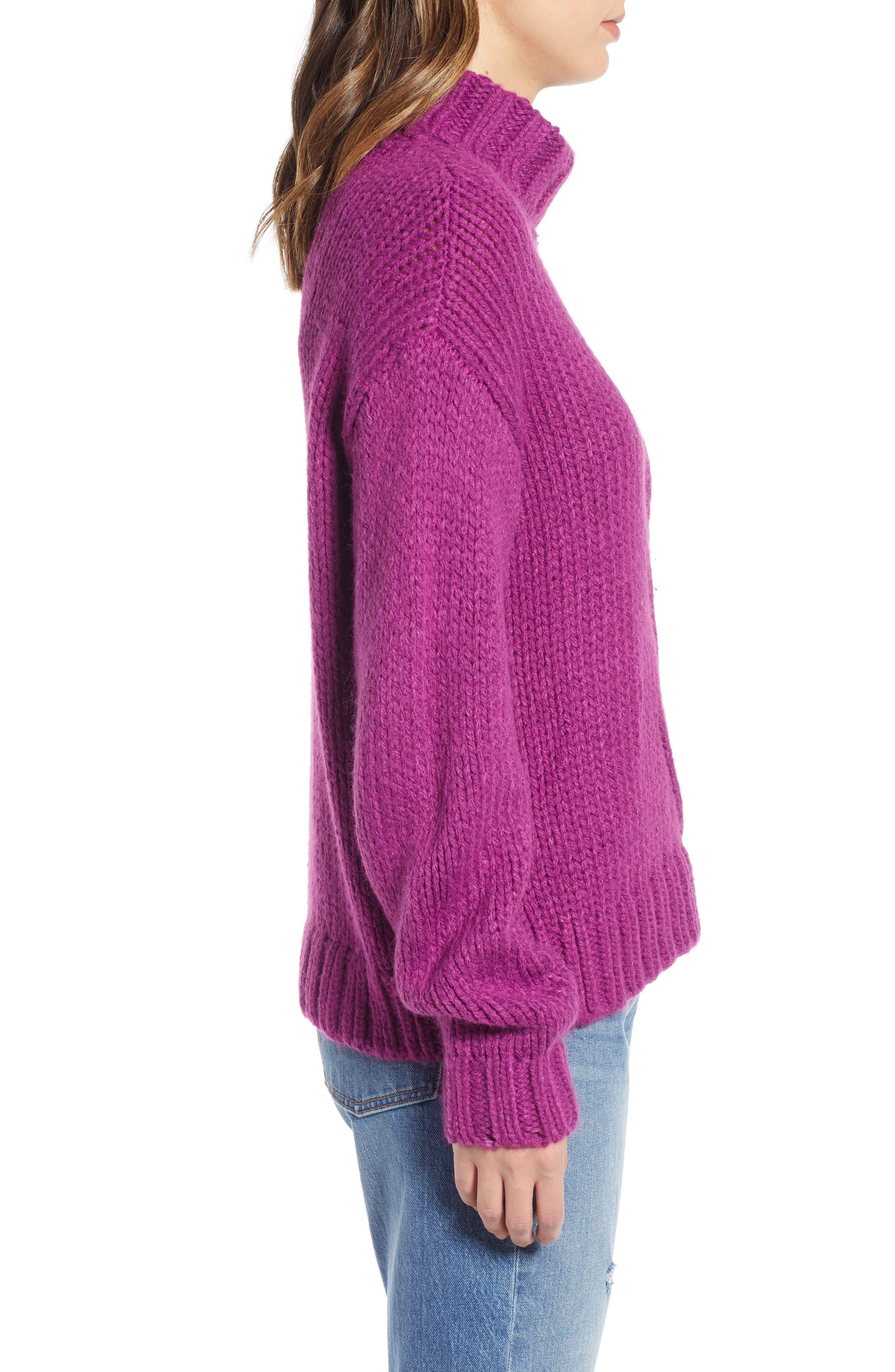 Kira Turtleneck Sweater,                             Alternate thumbnail 3, color,                             HOLLYHOCK