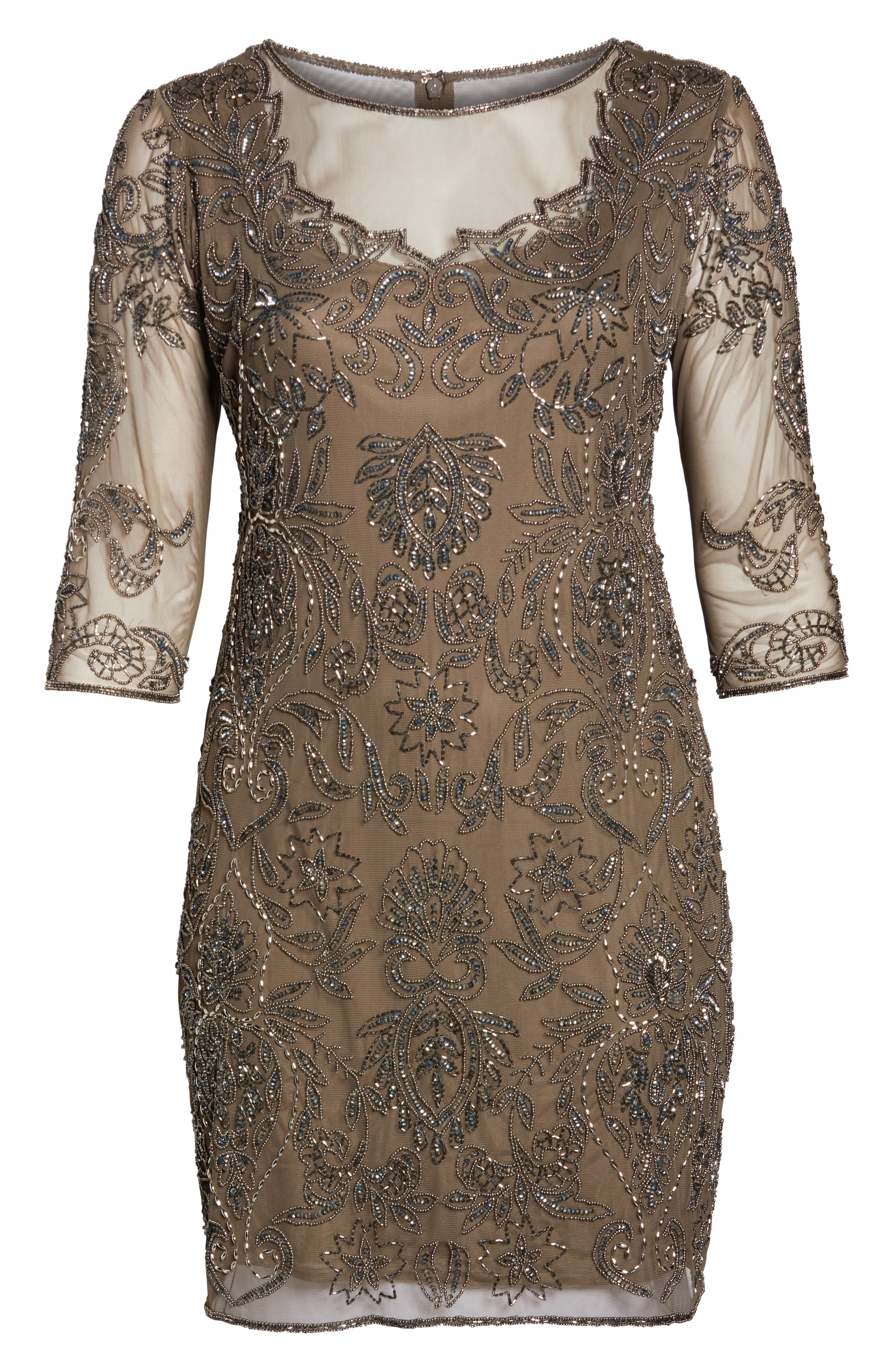 Embellished Mesh Sheath Dress,                             Alternate thumbnail 7, color,                             MOCHA