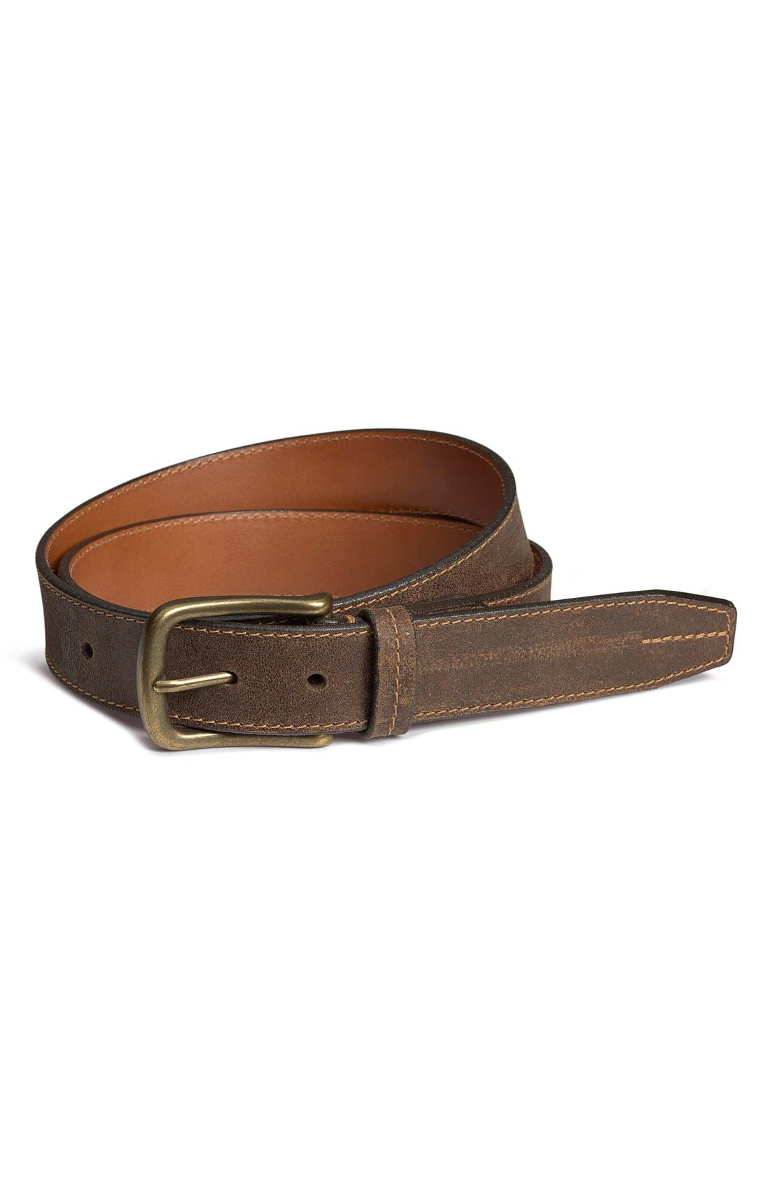 'Logan' Bison Leather Belt,                             Main thumbnail 1, color,                             WALNUT