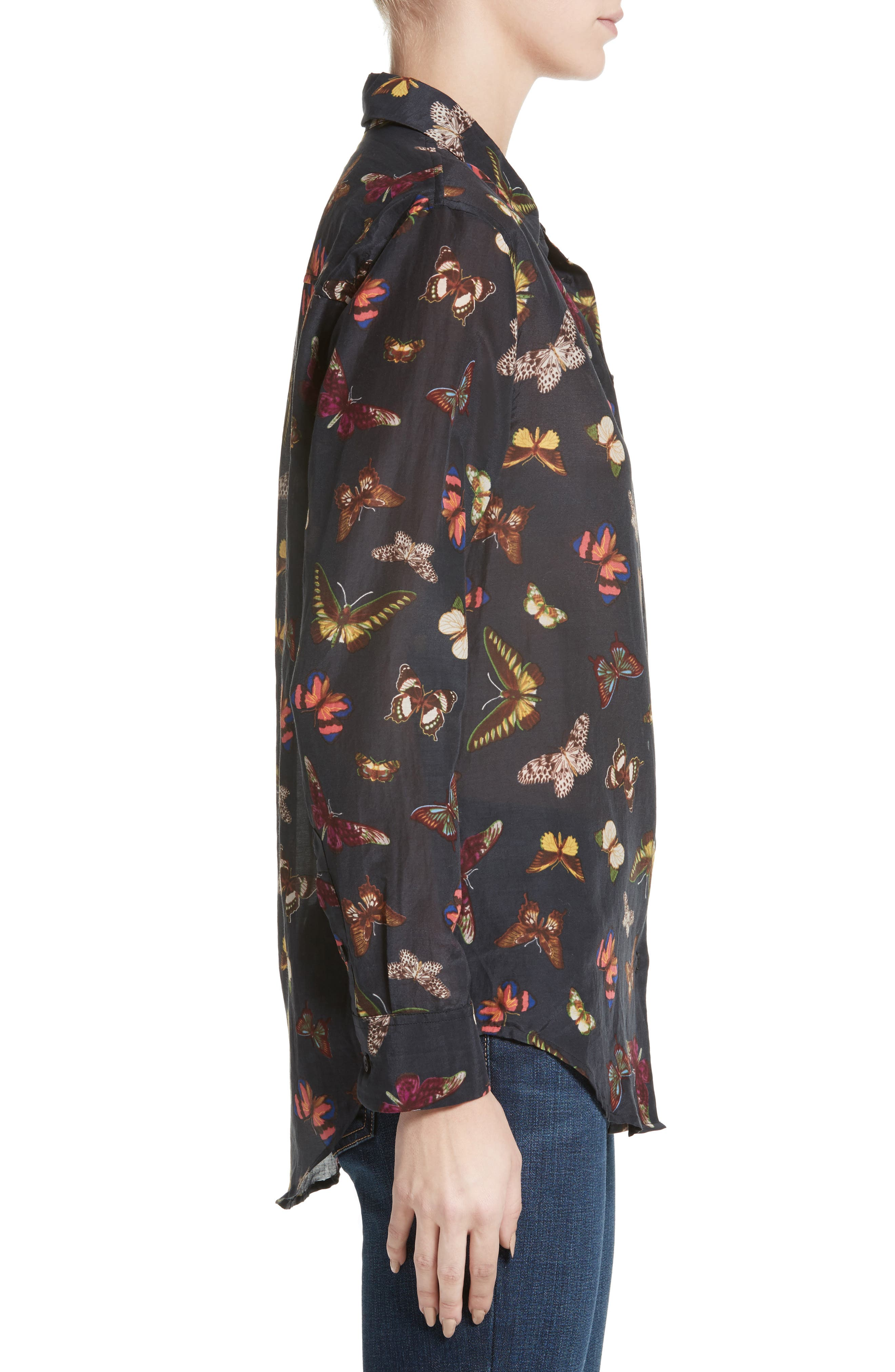 Essential Sheer Cotton & Silk Shirt,                             Alternate thumbnail 6, color,