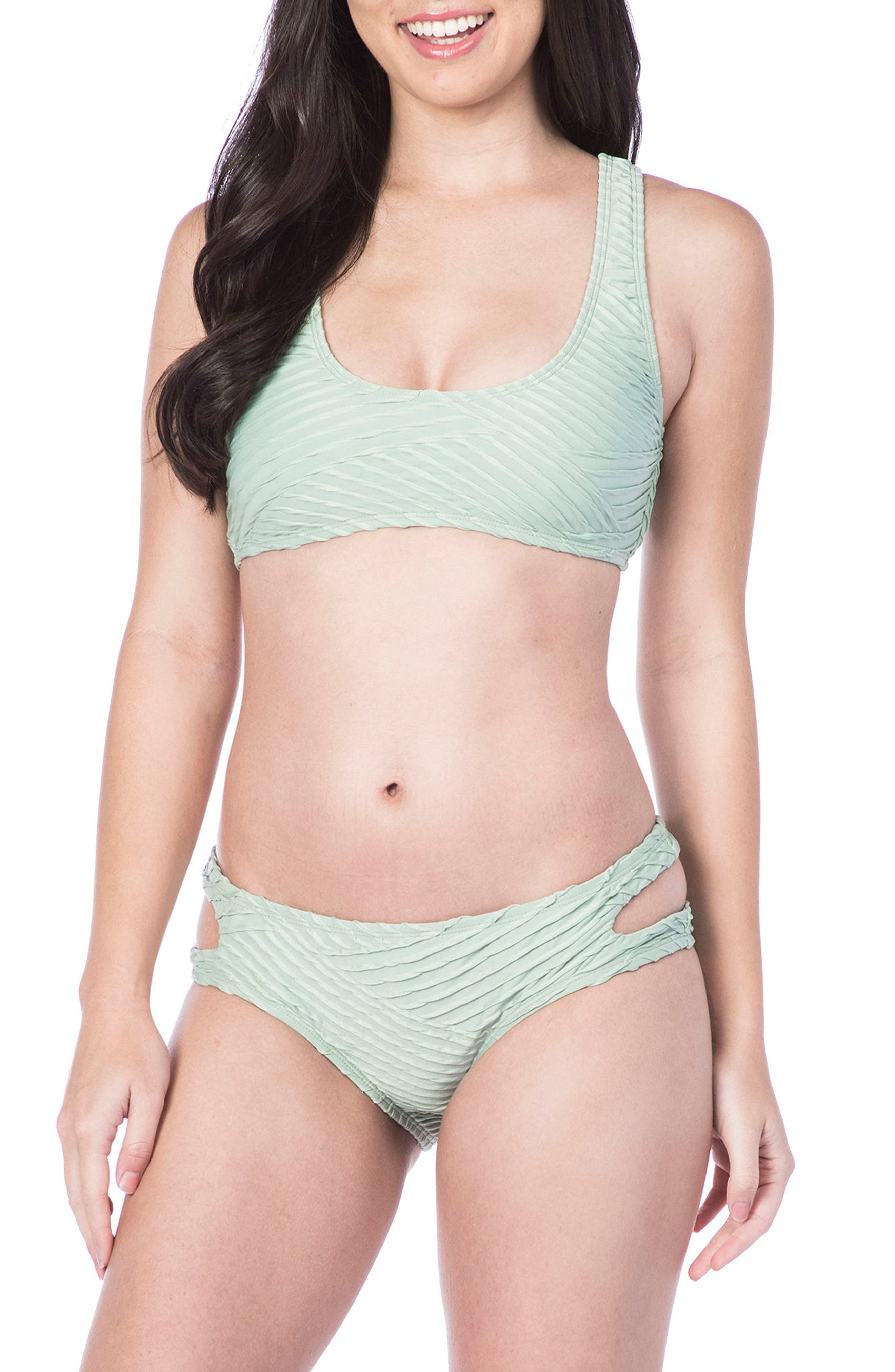 Sand Dune Hipster Bikini Bottoms,                             Alternate thumbnail 3, color,                             SAGE