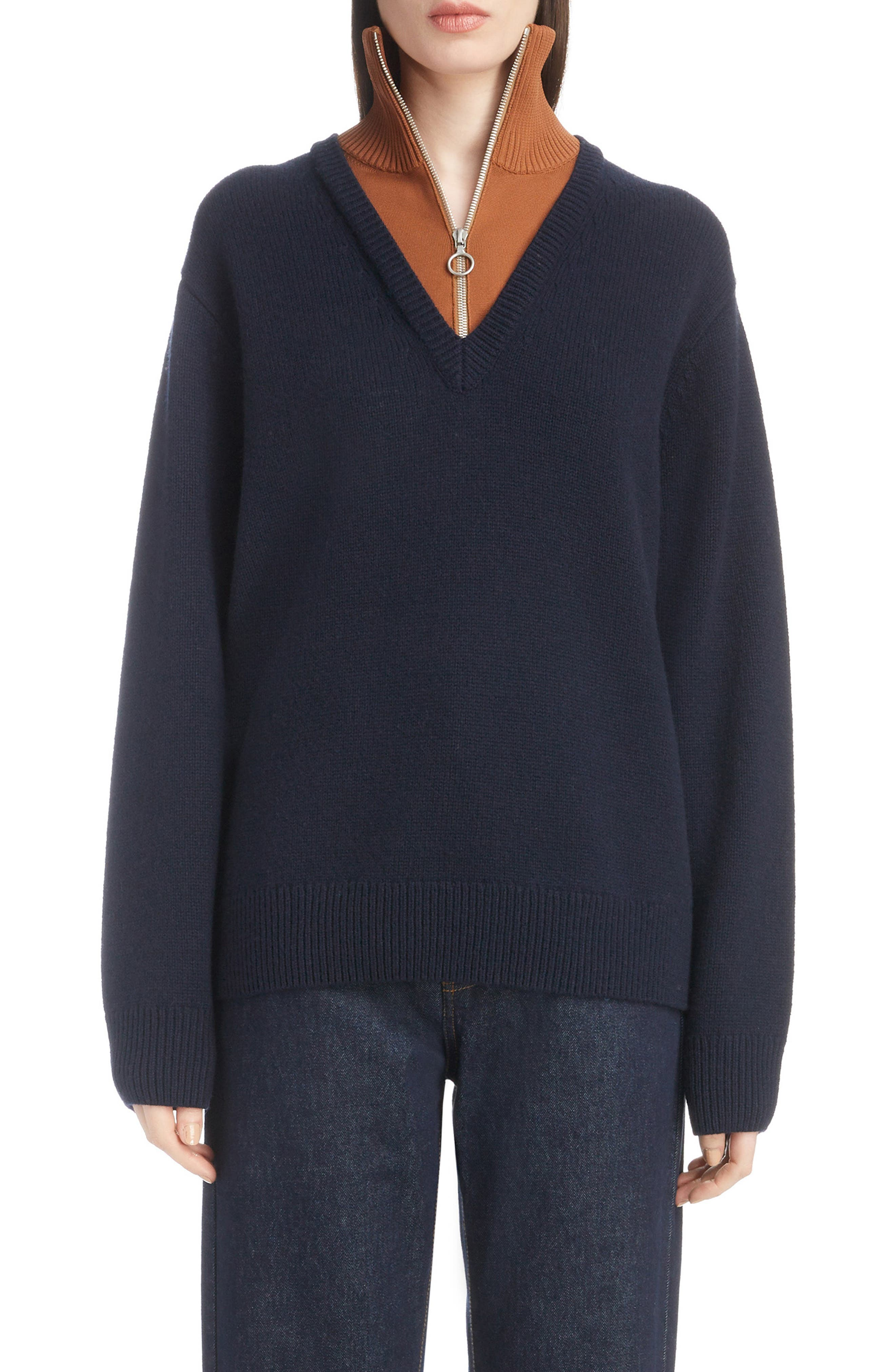 Inset Stretch Wool Sweater,                             Main thumbnail 1, color,                             NAVY