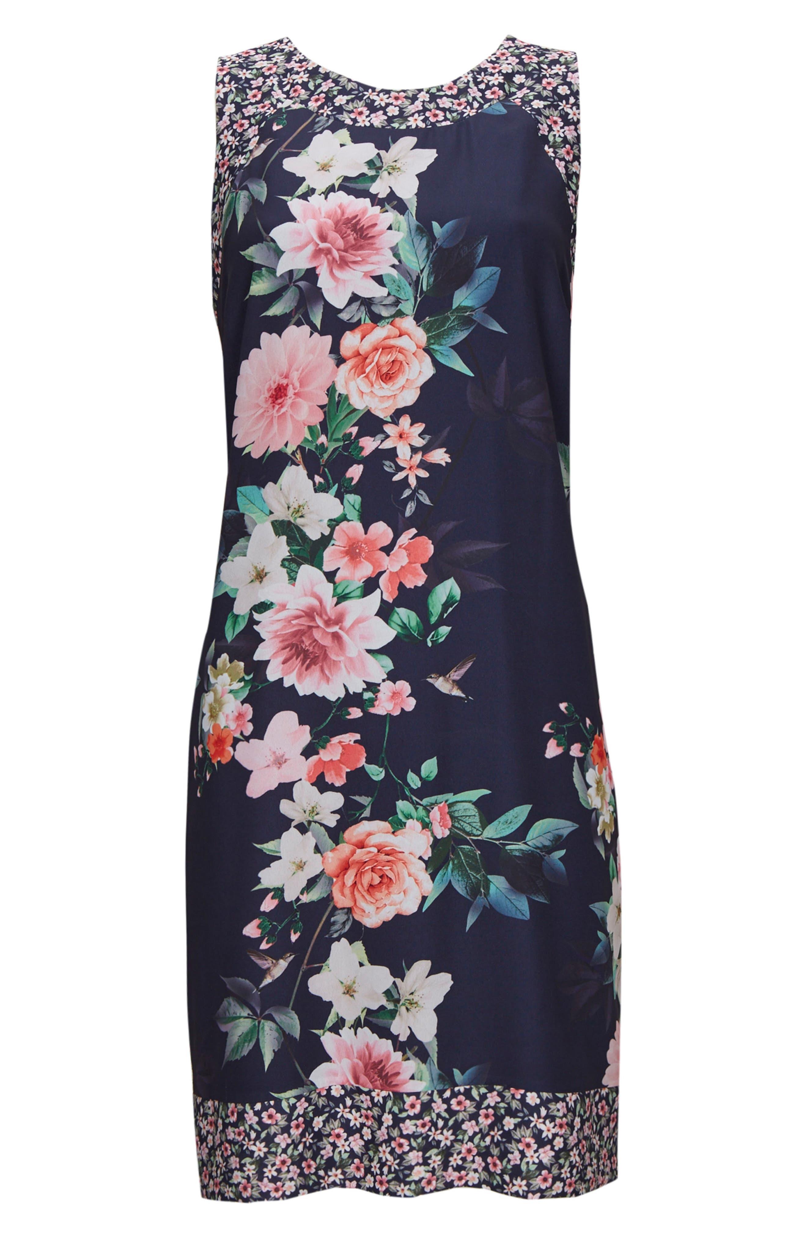 Peony Print Tank Dress,                             Alternate thumbnail 4, color,                             NAVY BLUE