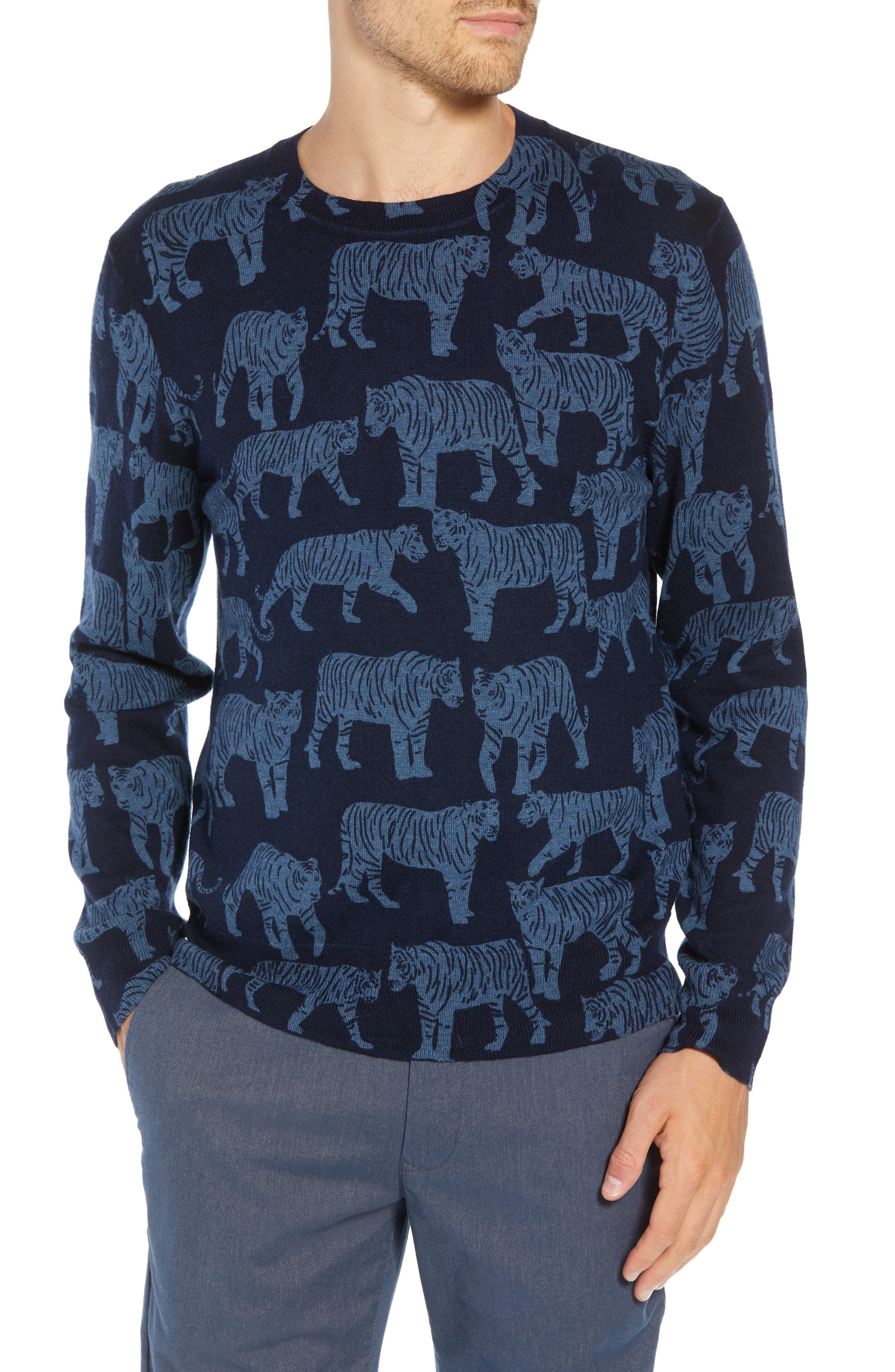 Slim Fit Tiger Print Sweater,                             Main thumbnail 1, color,                             NIGHTSHADOW/ FADED NAVY TIGRE