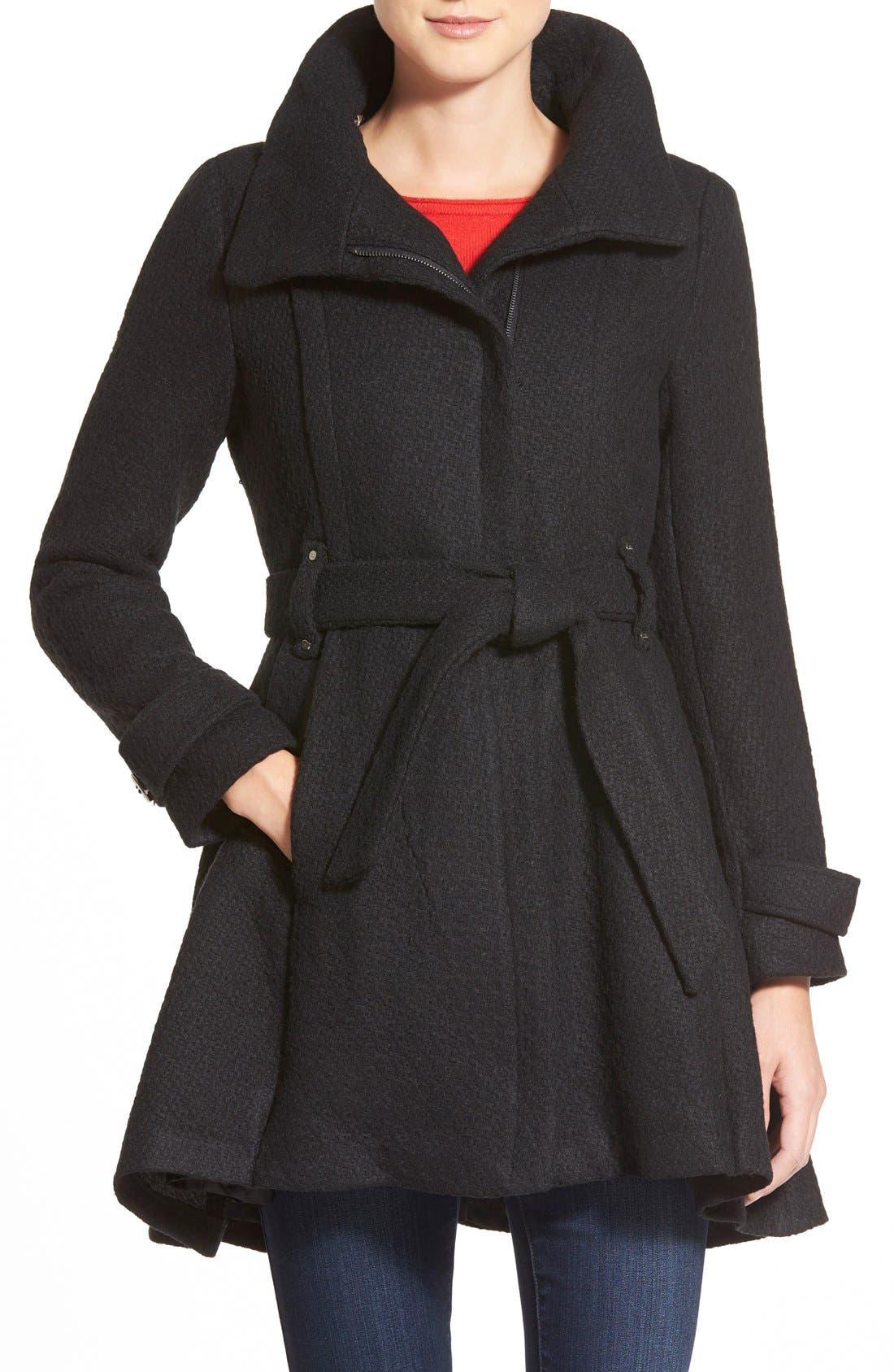 STEVE MADDEN Steven Madden Asymmetrical Zip Skirted Coat, Main, color, 001