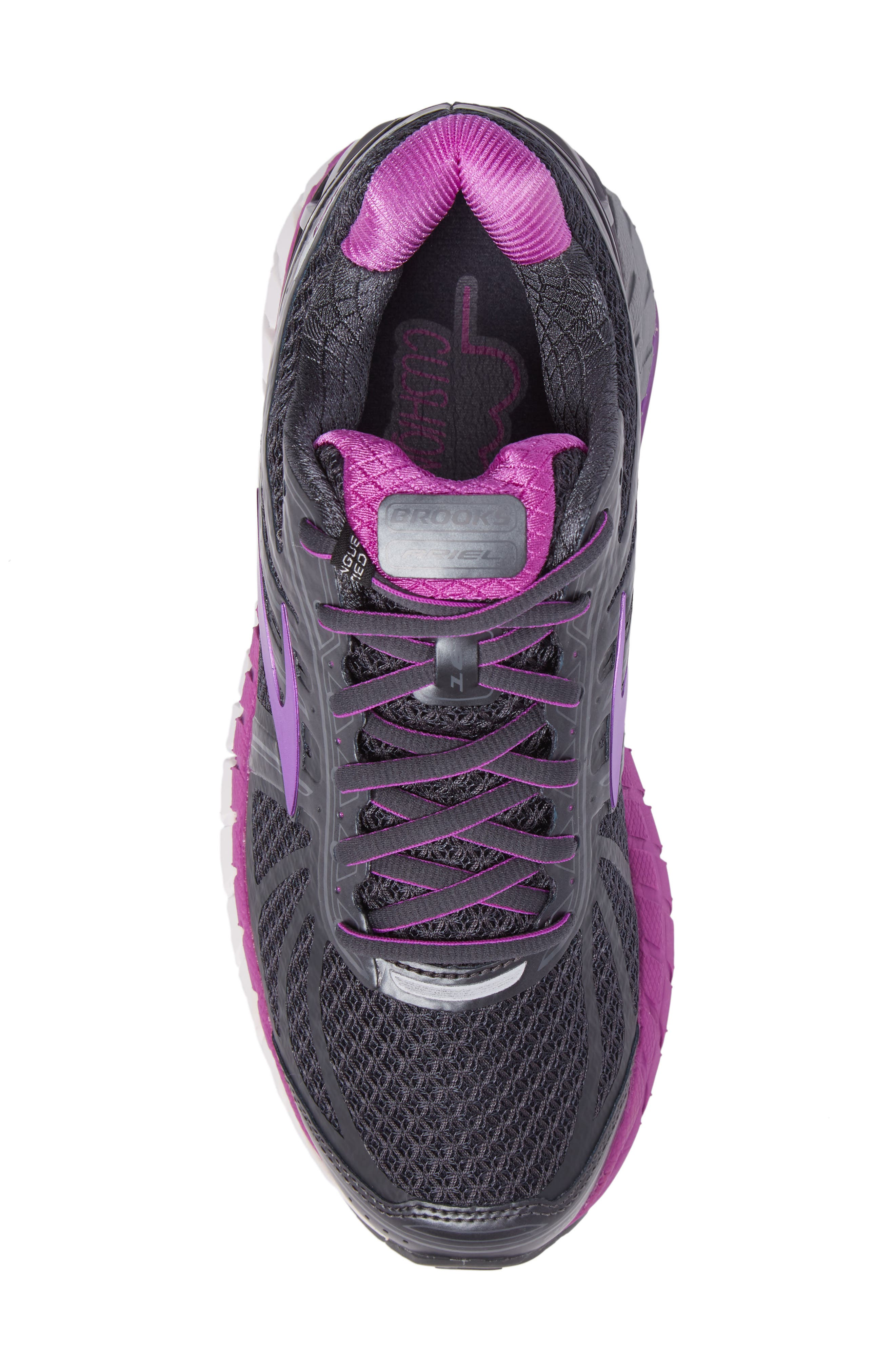 'Ariel 16' Running Shoe,                             Alternate thumbnail 5, color,                             ANTHRACITE/ PURPLE/ GREY