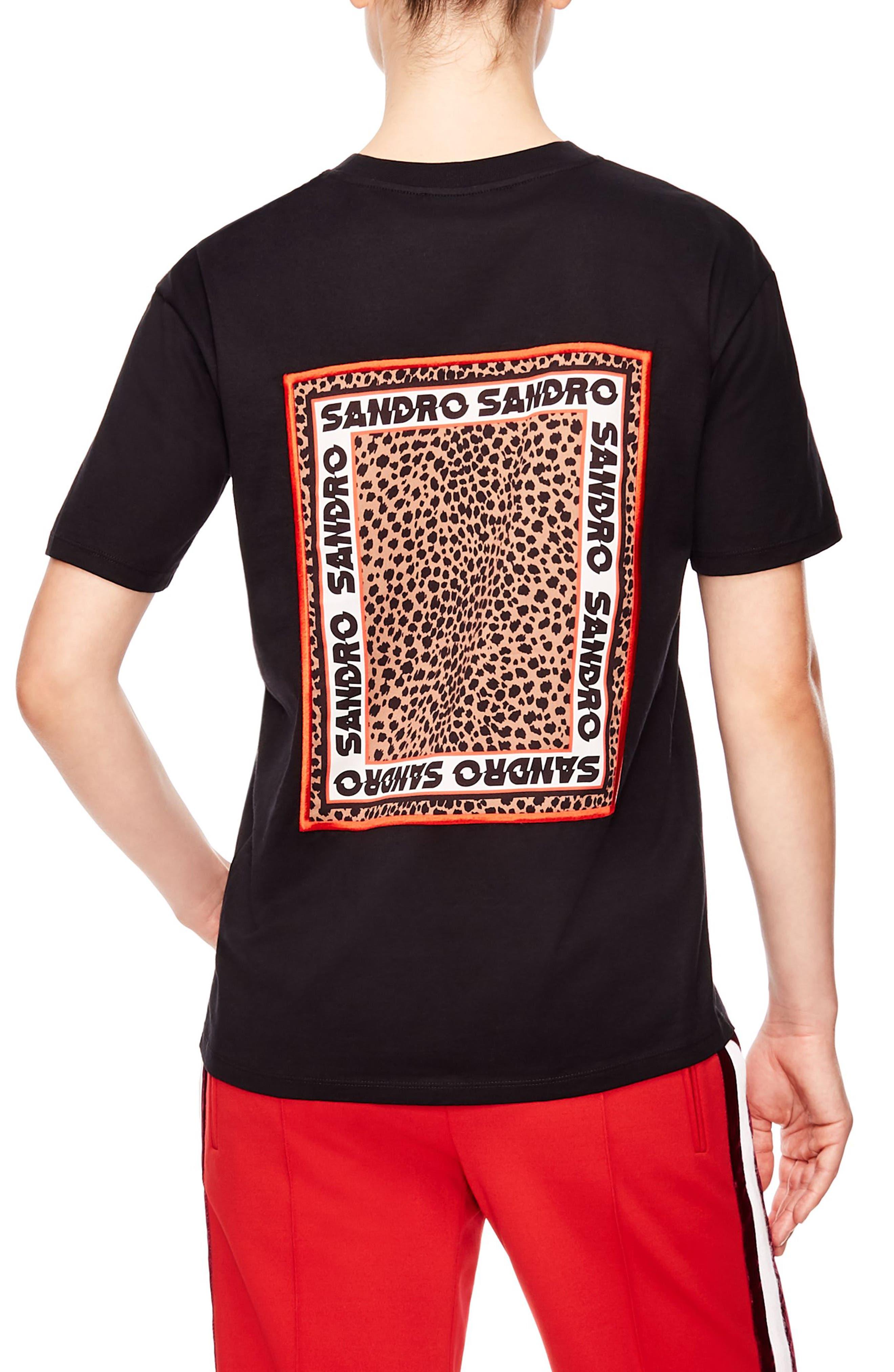 SANDRO,                             Logo Tee,                             Alternate thumbnail 2, color,                             001